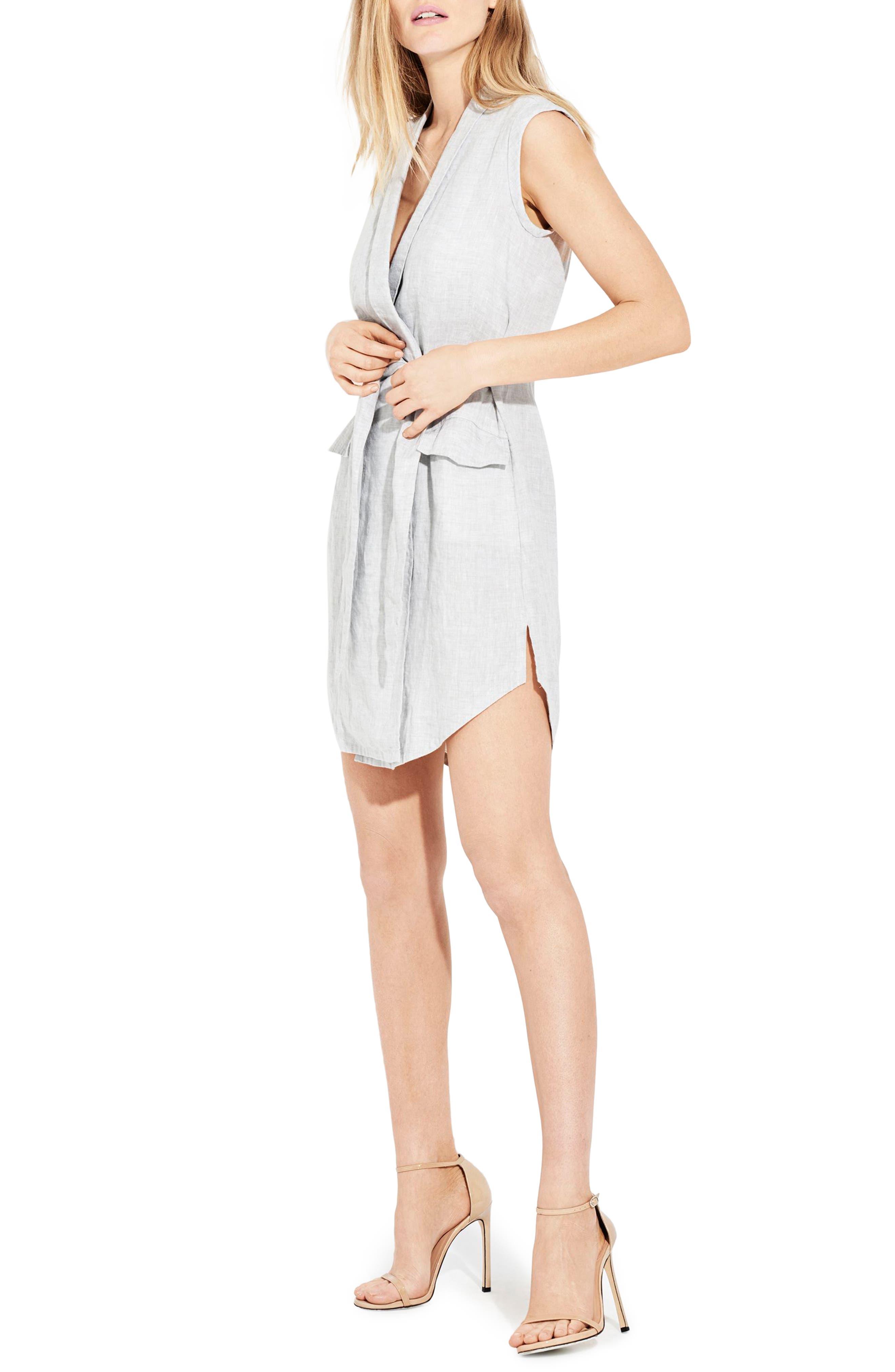 The Linen Utility Wrap Dress,                             Alternate thumbnail 3, color,                             Silver Fox
