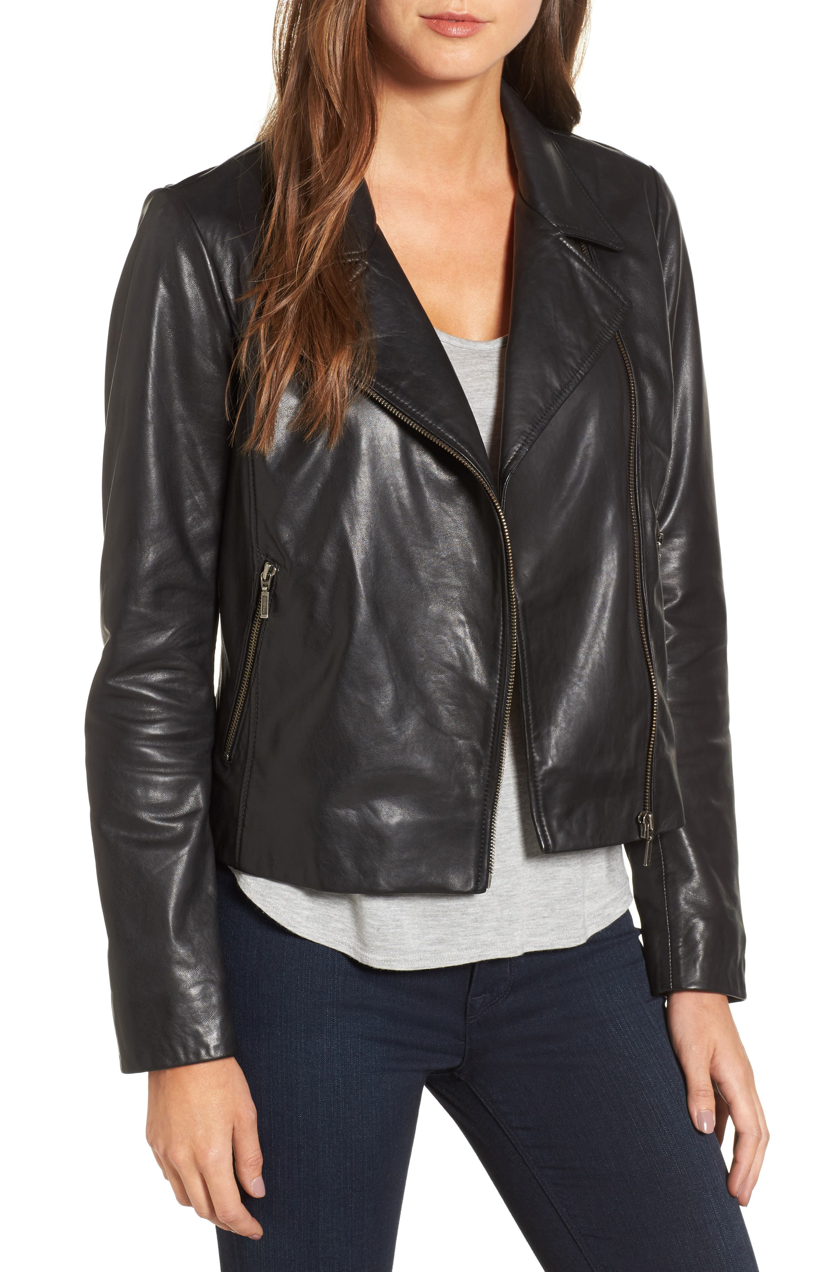 Alternate Image 1 Selected - Halogen® Leather Moto Jacket (Regular & Petite)