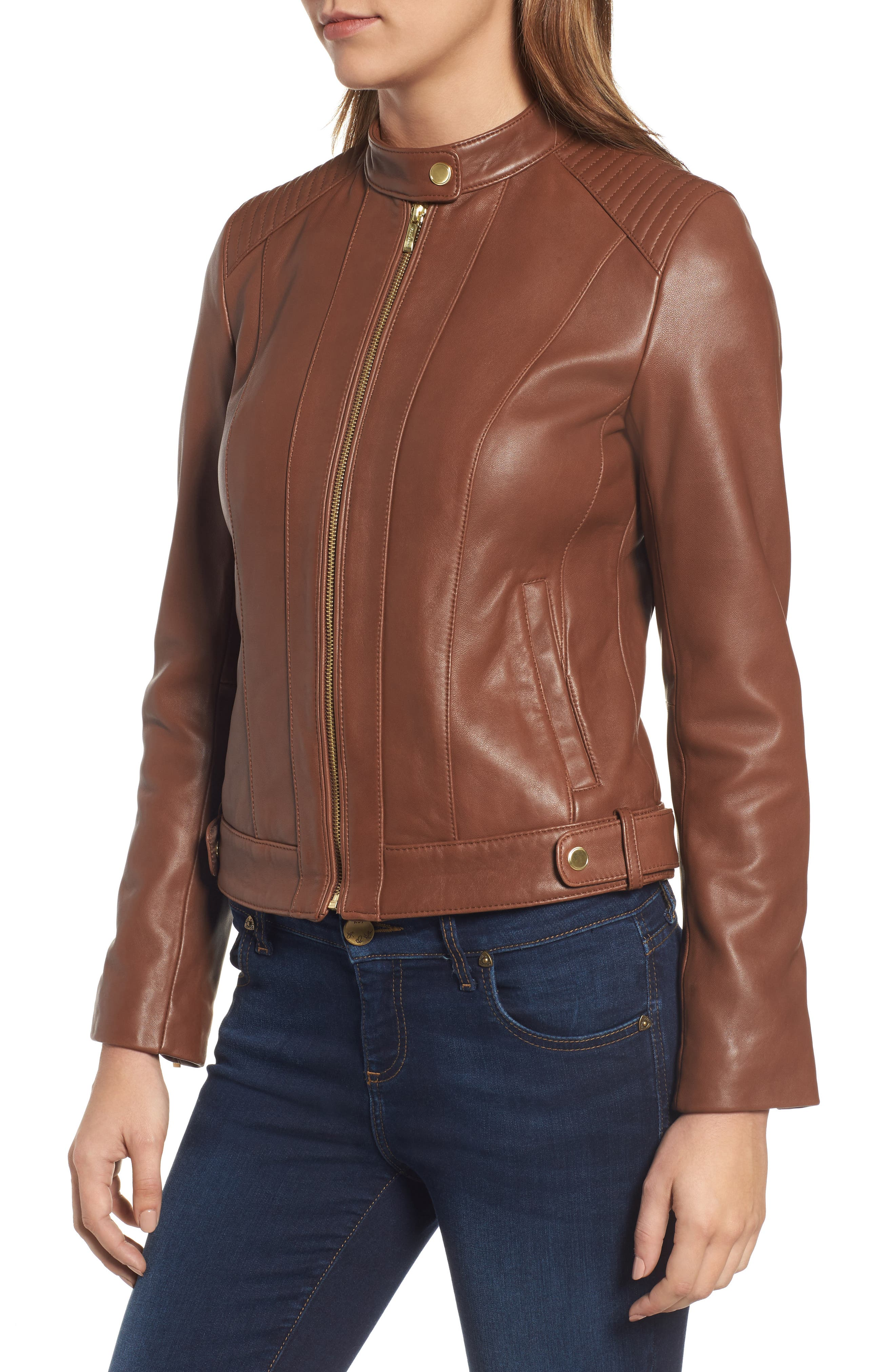 Leather Moto Jacket,                             Alternate thumbnail 4, color,                             Chestnut