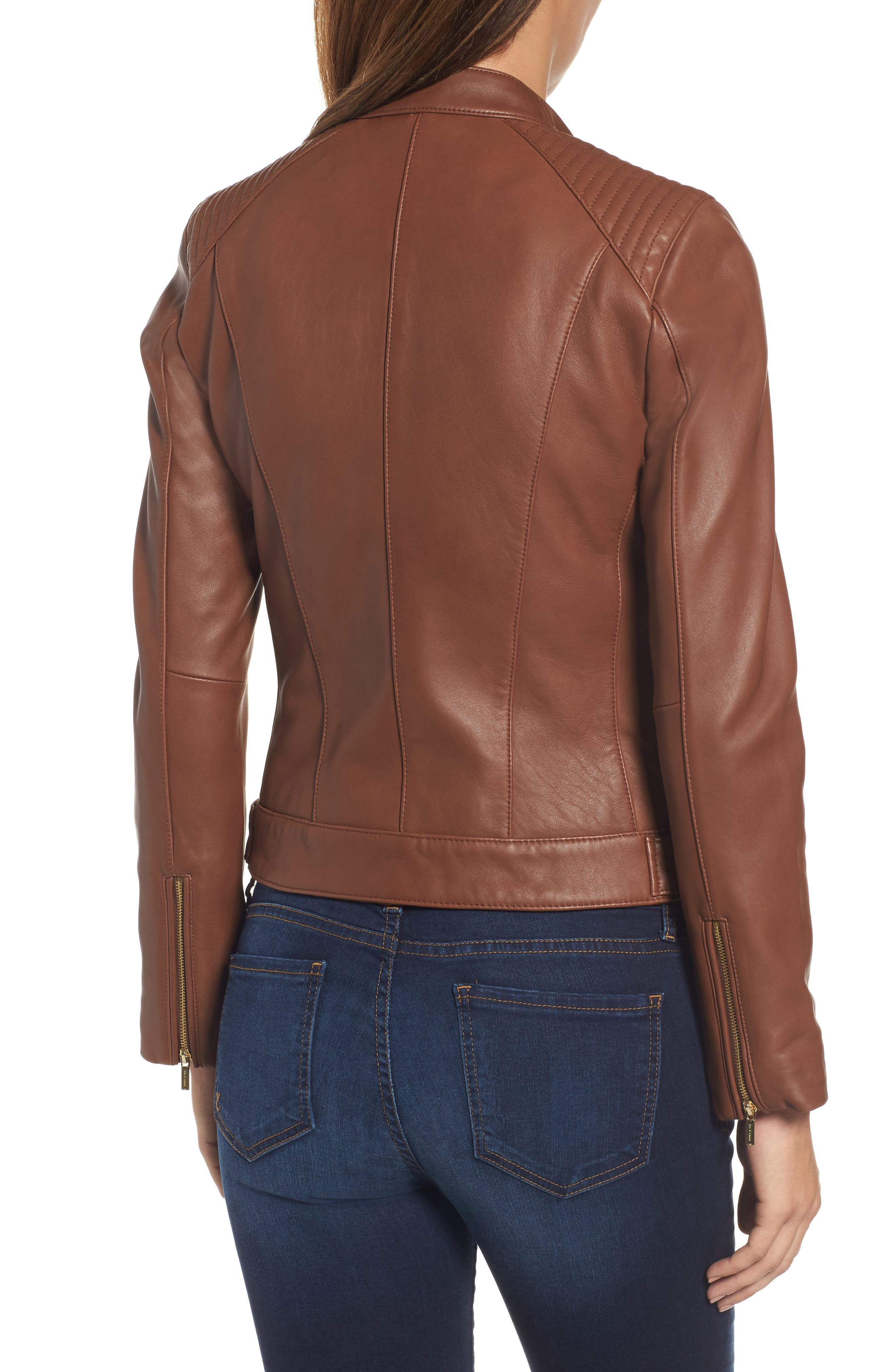 Leather Moto Jacket,                             Alternate thumbnail 2, color,                             Chestnut