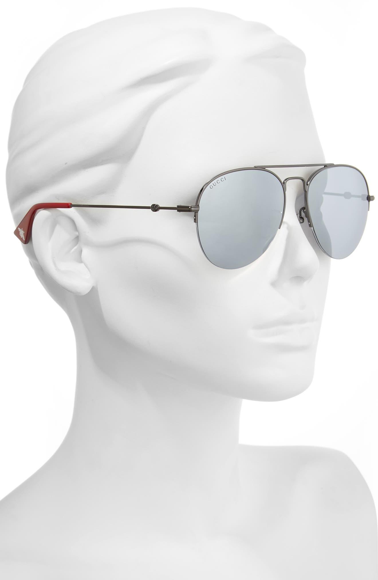 56mm Aviator Sunglasses,                             Alternate thumbnail 2, color,                             Ruthenium/ Silver