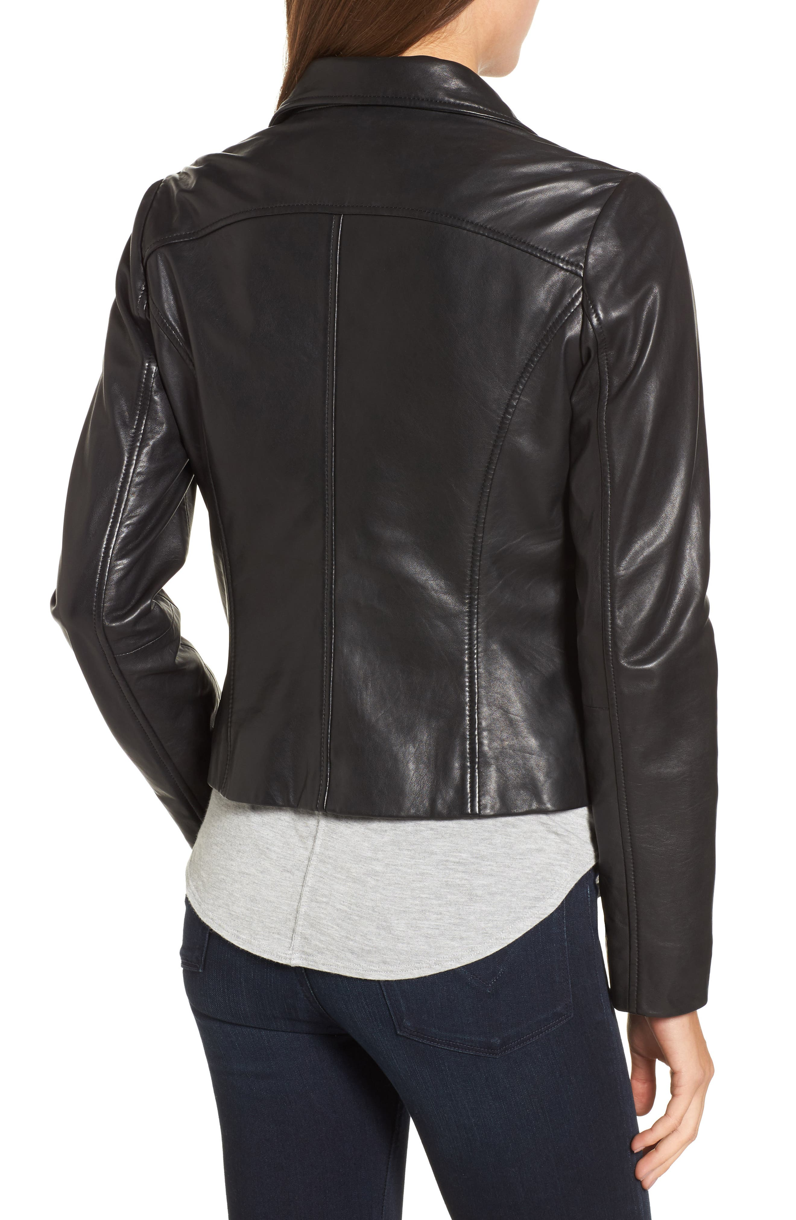 Alternate Image 2  - Halogen® Leather Moto Jacket (Regular & Petite)