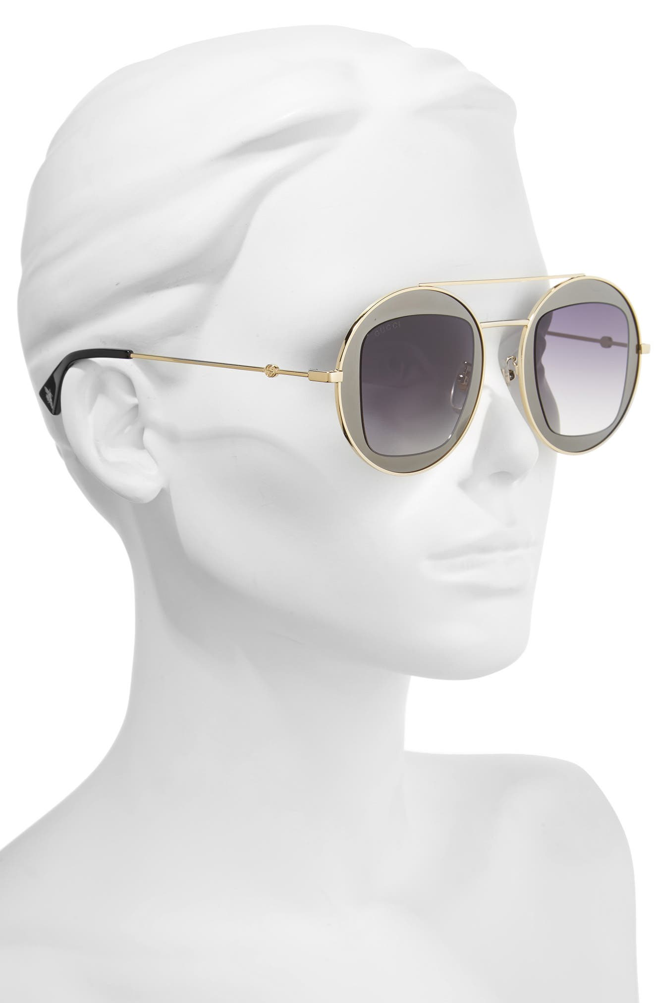 47mm Round Sunglasses,                             Alternate thumbnail 2, color,                             Matte Gold/ Grey