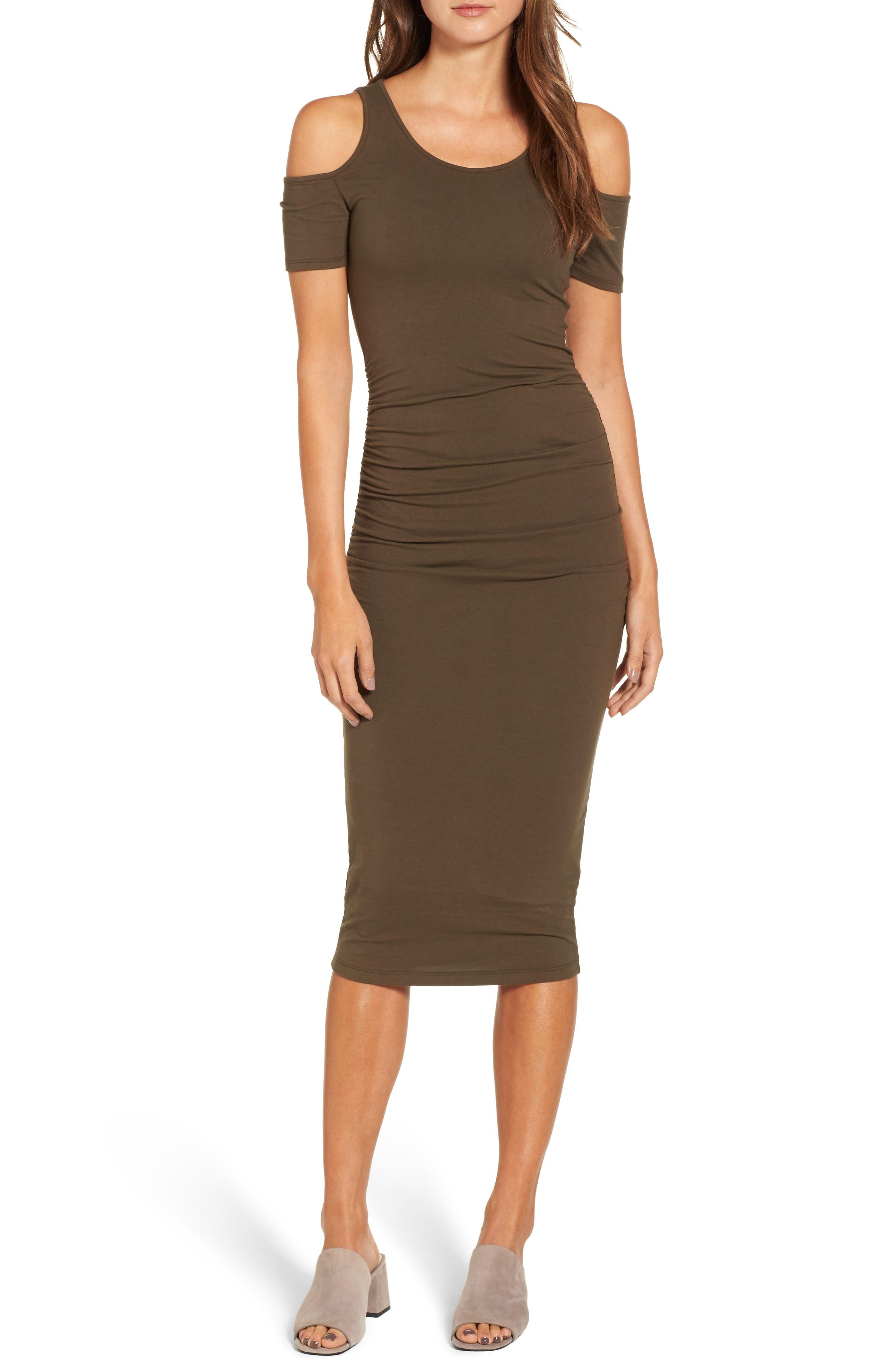 Alternate Image 1 Selected - Michael Stars Cold Shoulder Body-Con Dress (Regular & Petite)