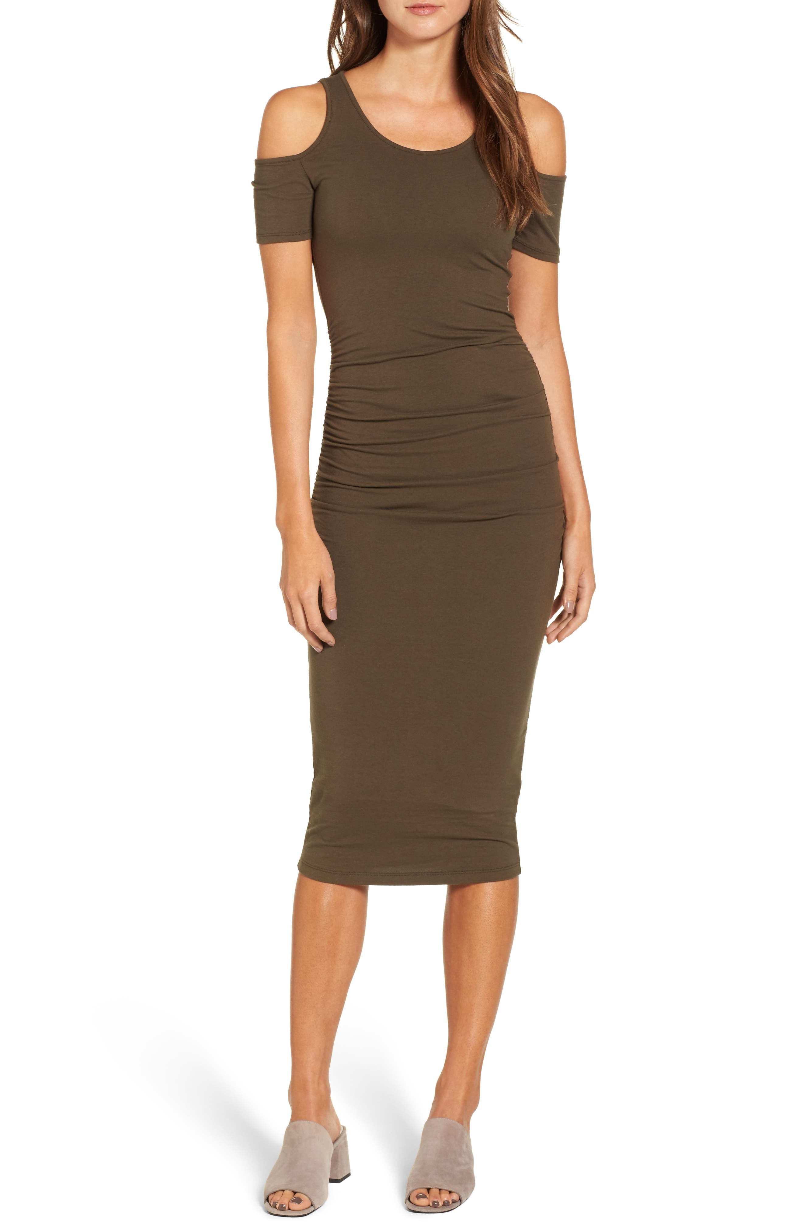 Main Image - Michael Stars Cold Shoulder Body-Con Dress (Regular & Petite)