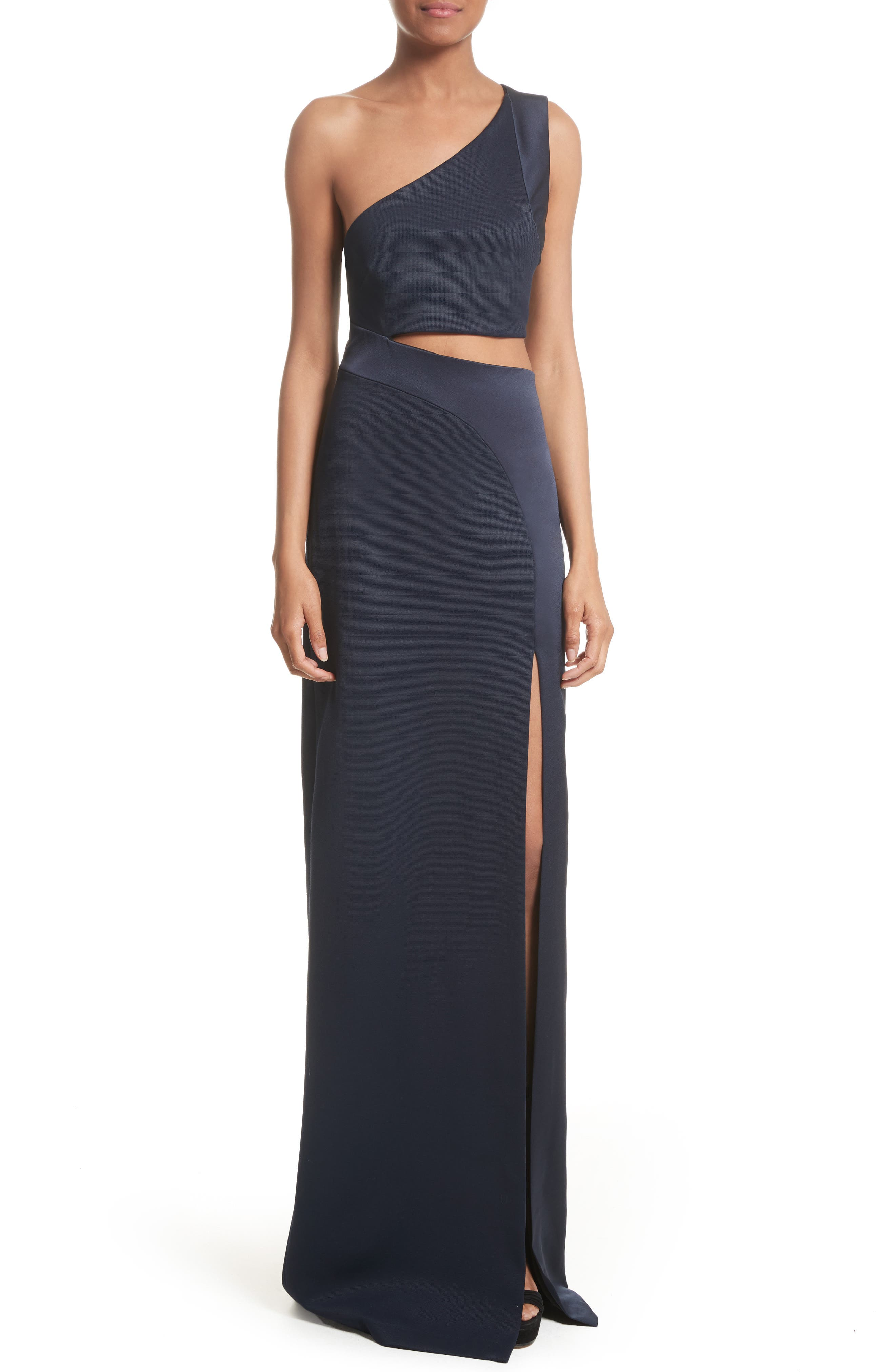 Cutout One-Shoulder Gown,                             Main thumbnail 1, color,                             Midnight