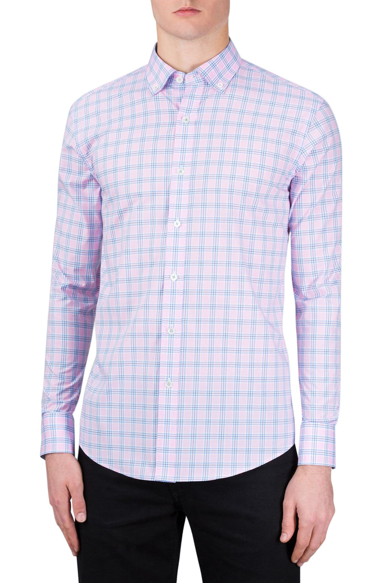Shaped Fit Check Sport Shirt,                             Main thumbnail 1, color,                             Pink