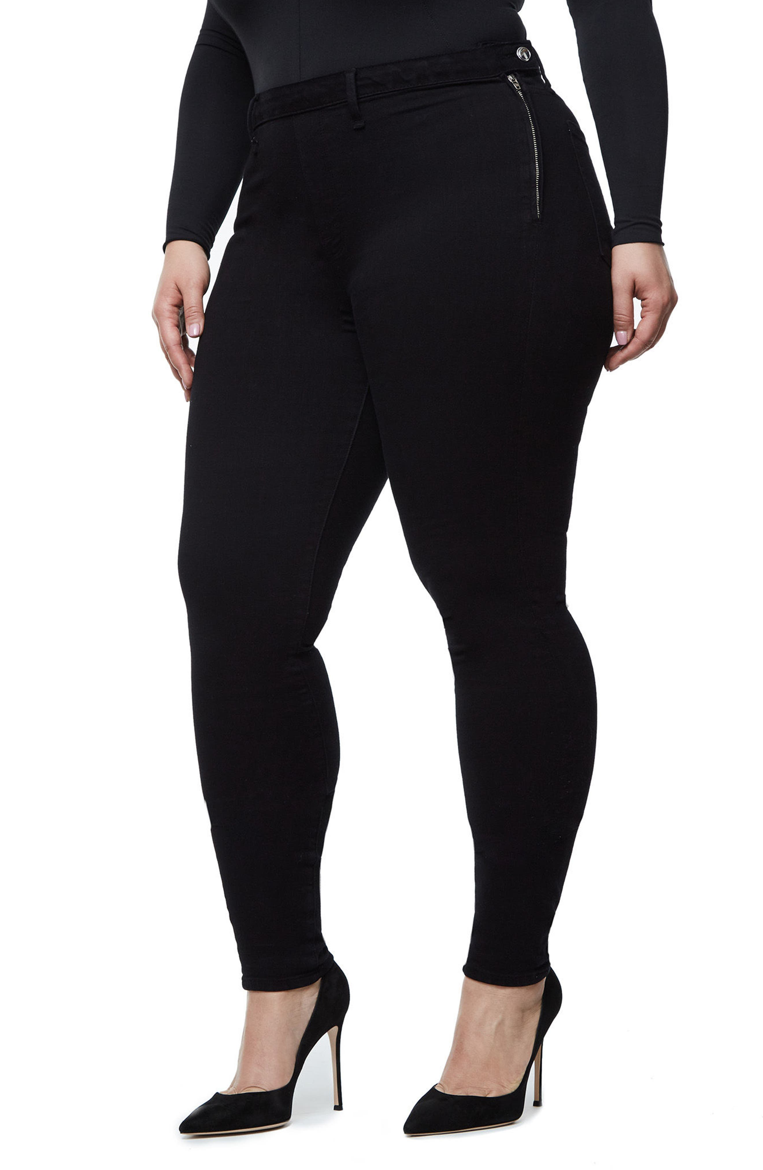 Alternate Image 9  - Good American High Waist Side Zip Skinny Jeans (Black 001) (Extended Sizes)