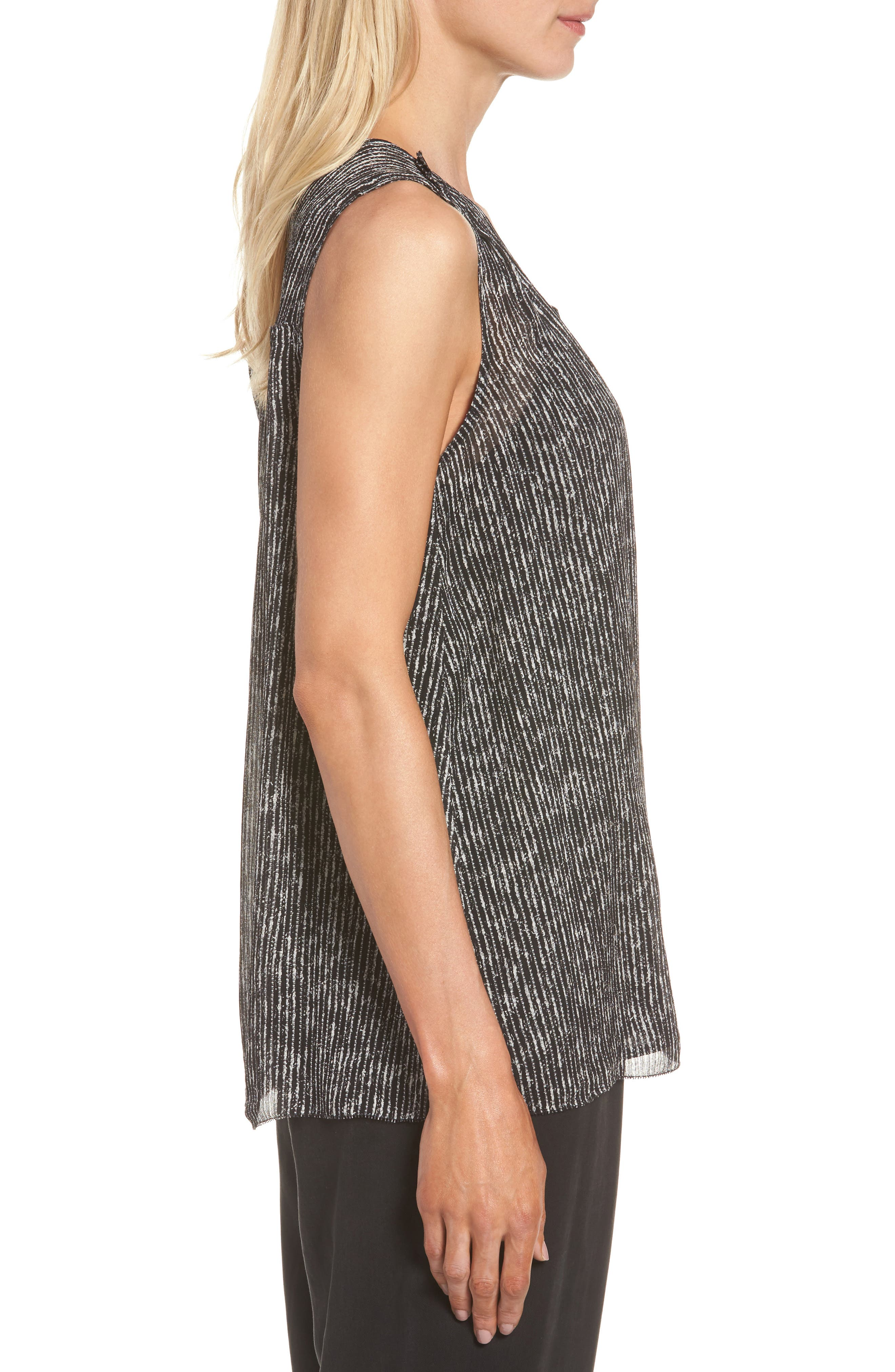 Print Silk Tank,                             Alternate thumbnail 3, color,                             Black
