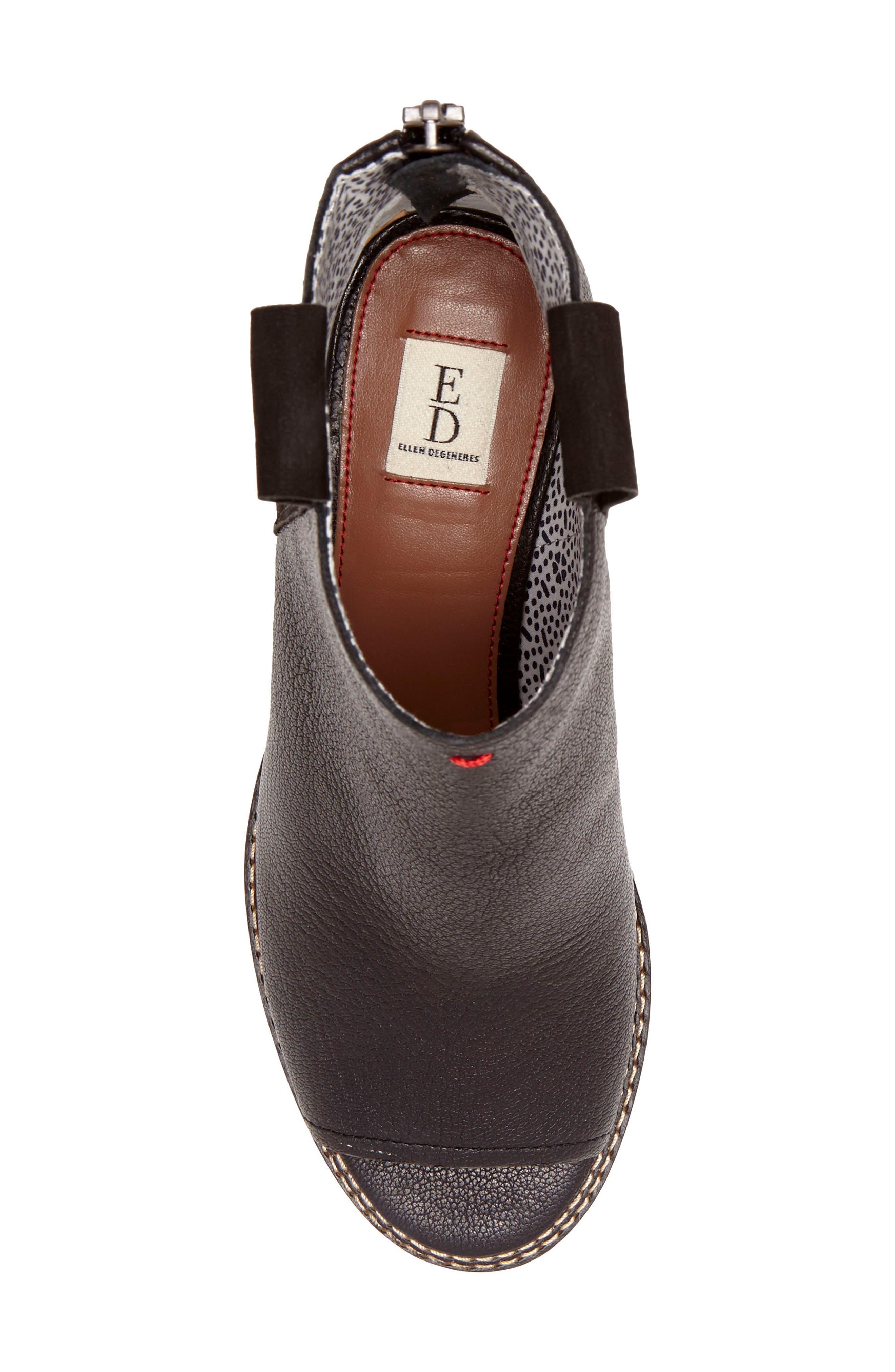 Taromi Peep Toe Bootie,                             Alternate thumbnail 5, color,                             Black Leather