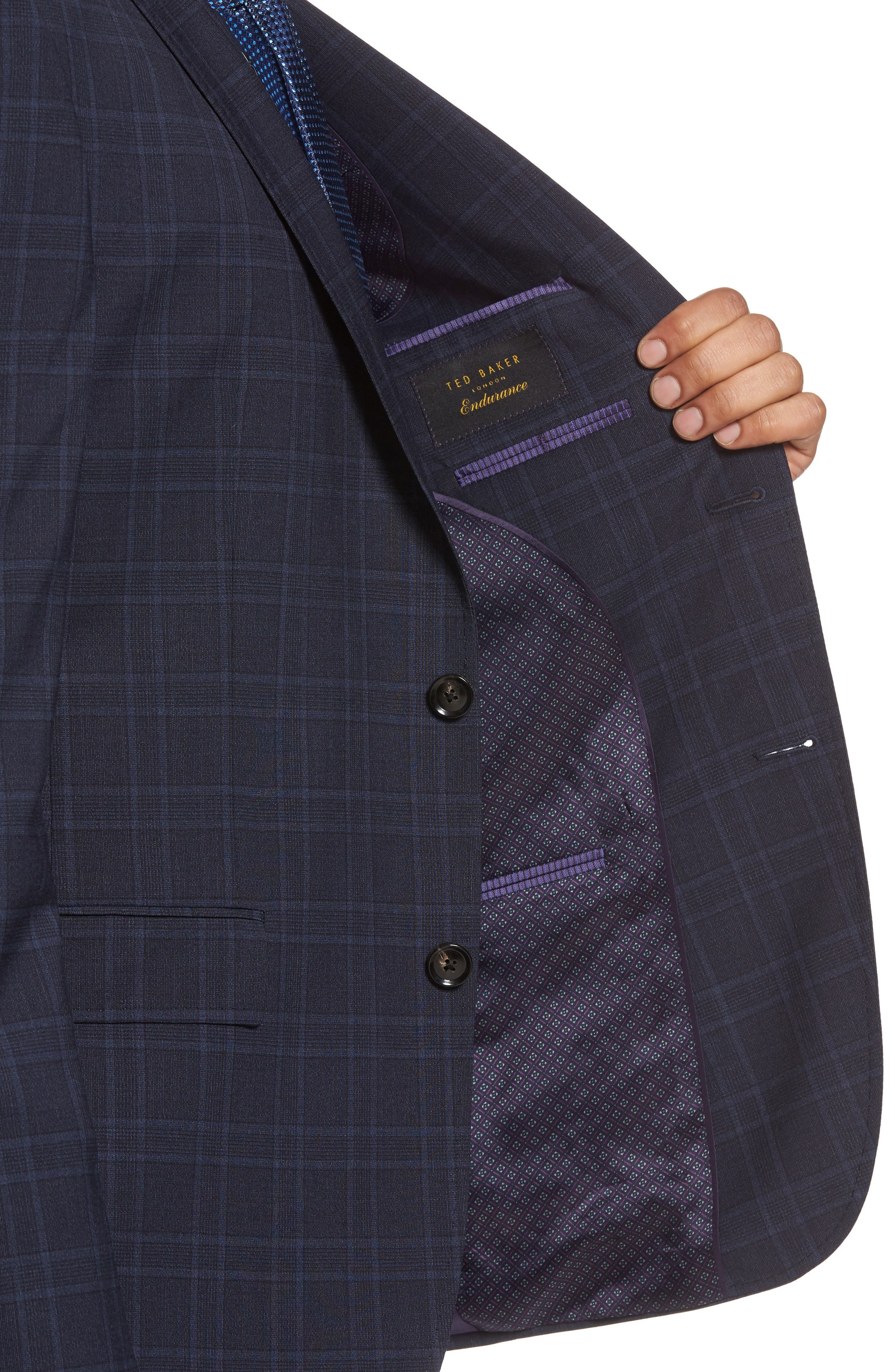 Jay Trim Fit Plaid Wool Suit,                             Alternate thumbnail 4, color,                             Blue