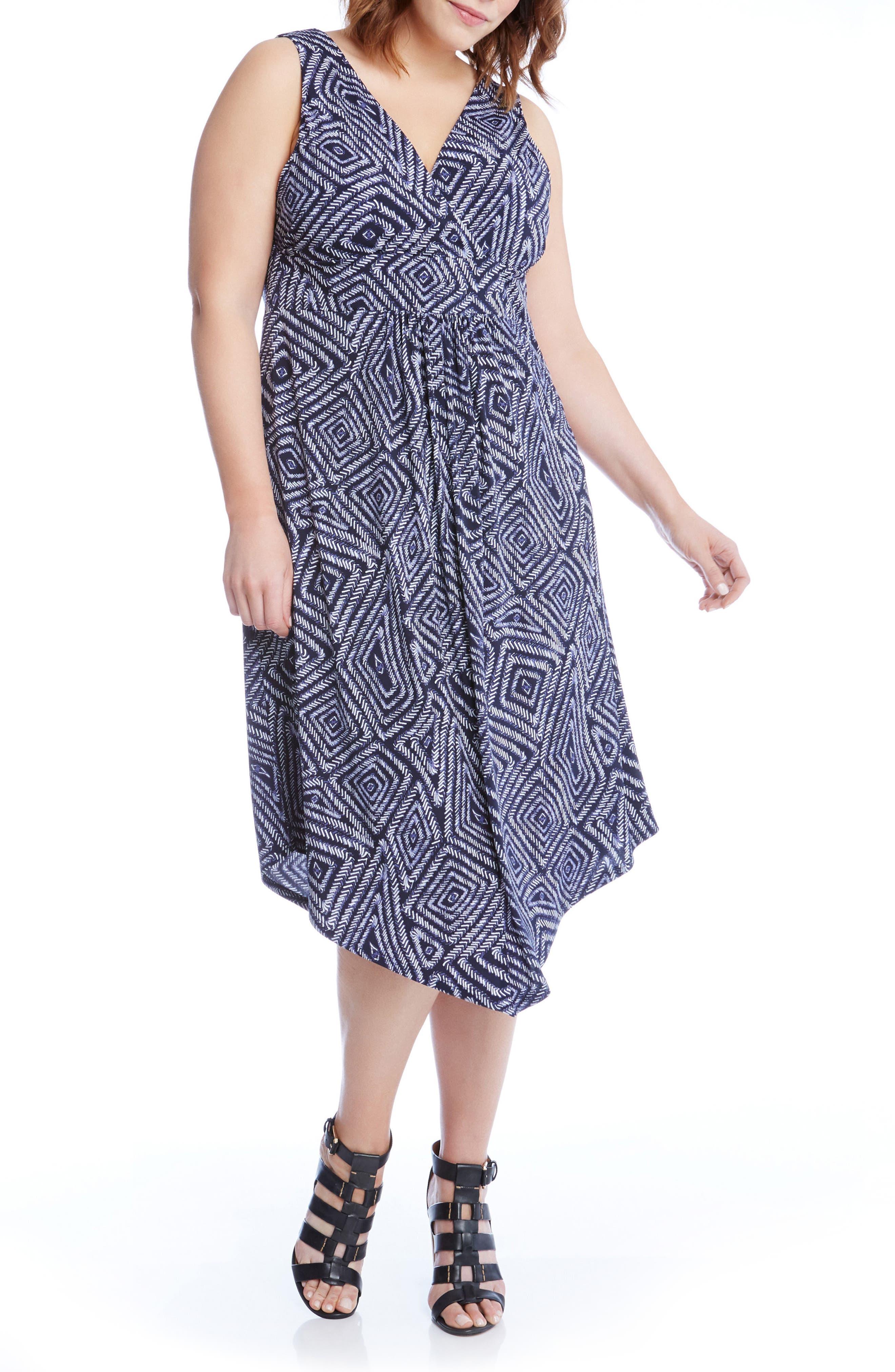 Alternate Image 3  - Karen Kane Asymmetrical Hem Geo Print Midi Dress (Plus Size)