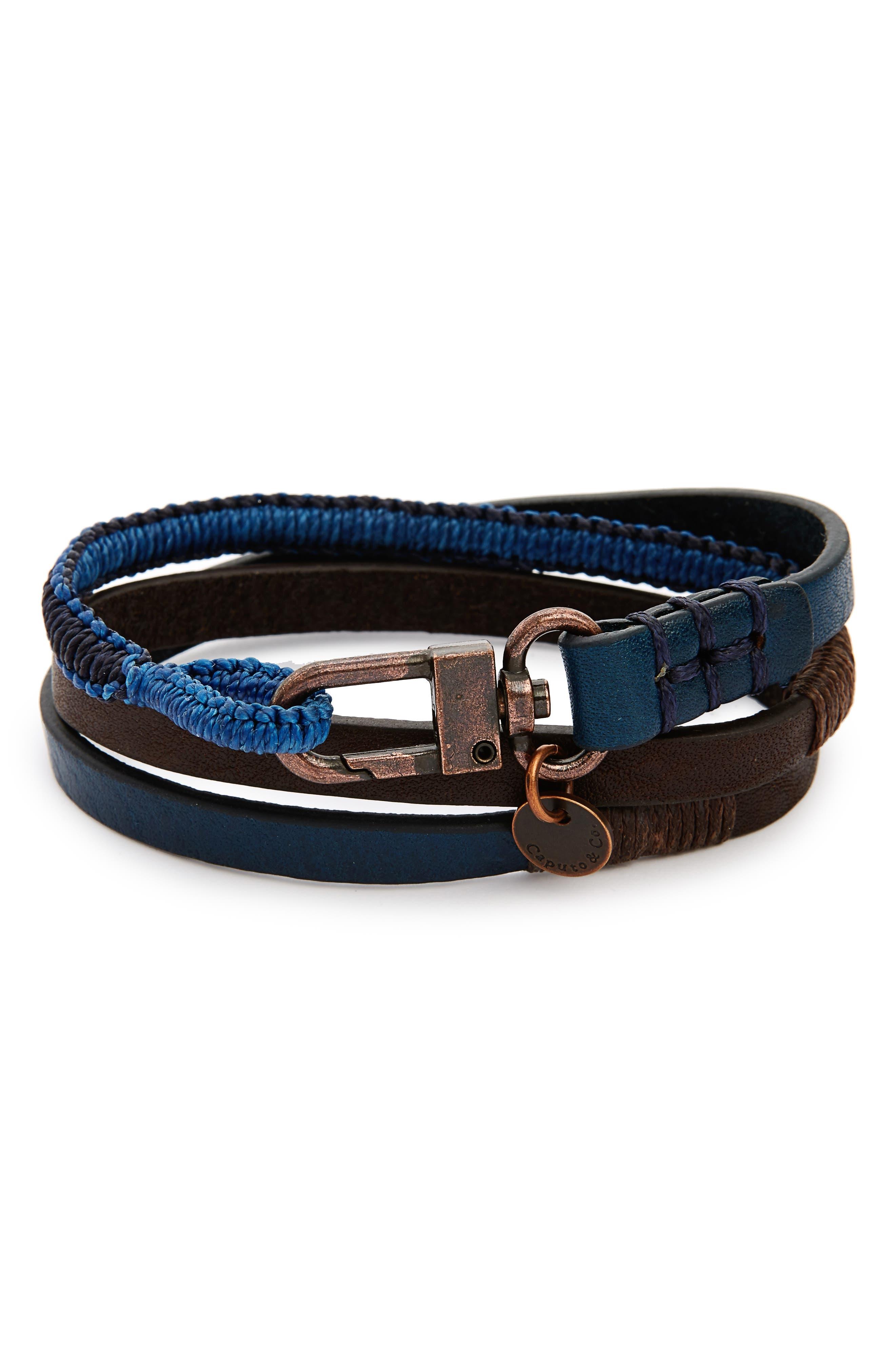 Alternate Image 1 Selected - Caputo & Co. Leather Wrap Bracelet