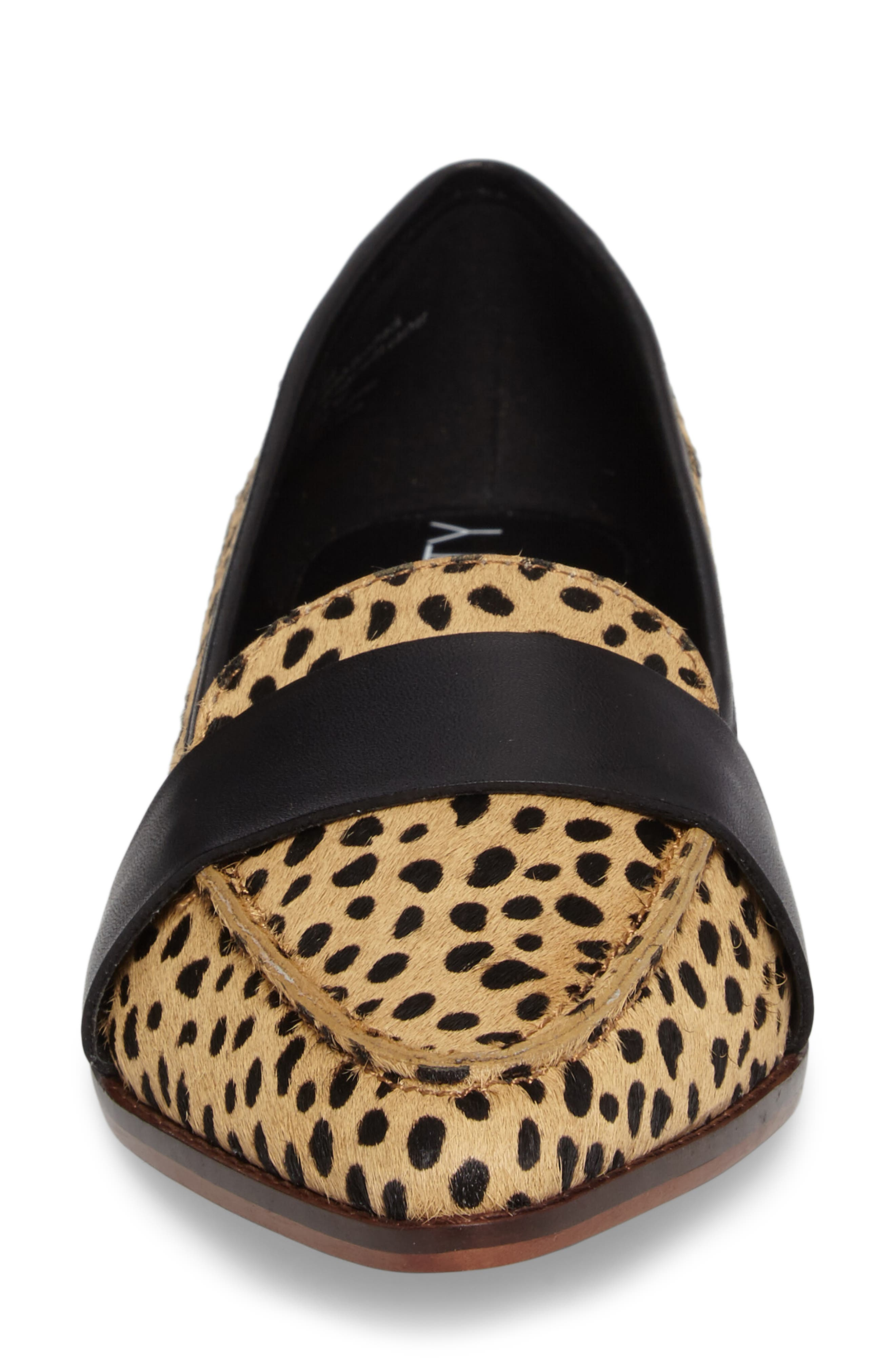 Edie Pointy Toe Loafer,                             Alternate thumbnail 4, color,                             Cheetah Calfhair