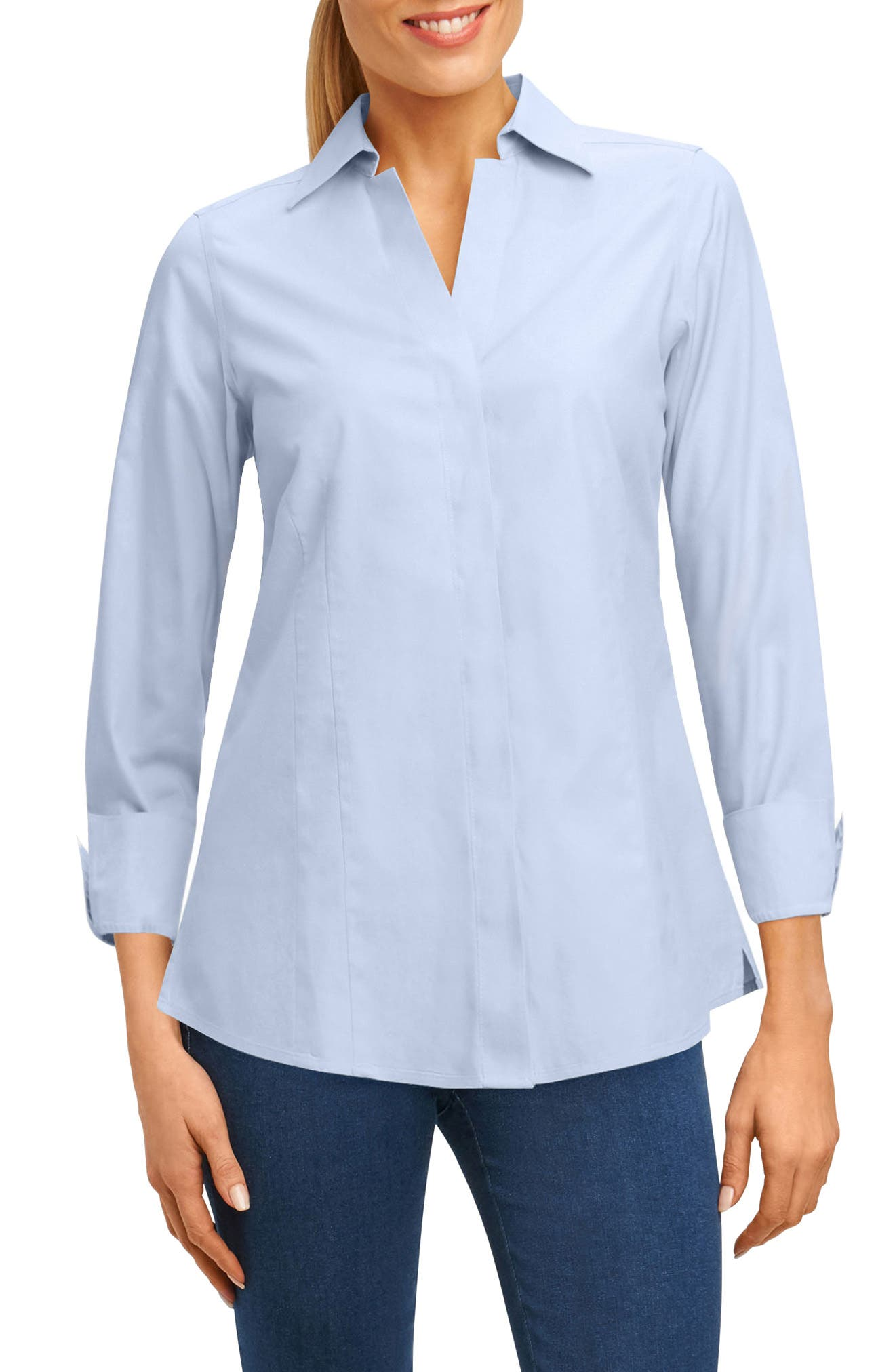 Main Image - Foxcroft Fitted Non-Iron Shirt (Regular & Petite)