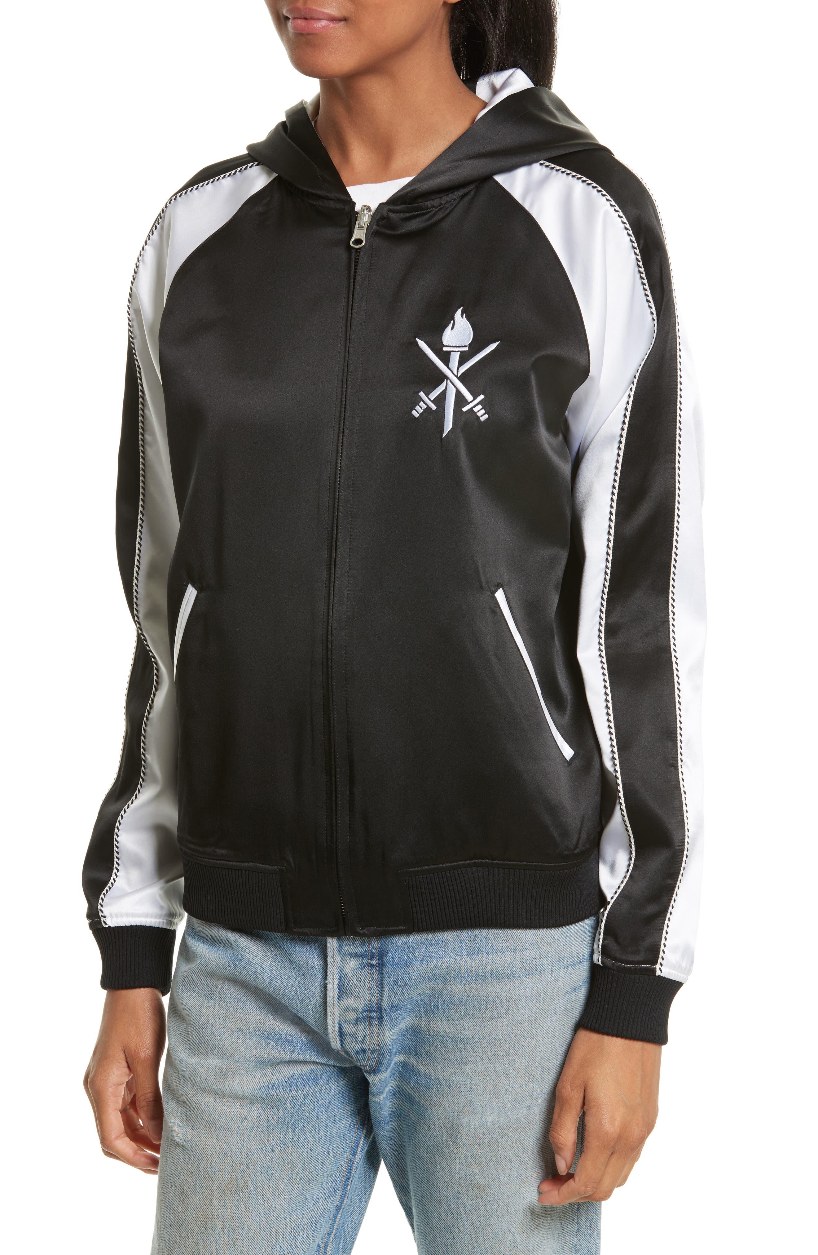 OC Reversible Silk Track Jacket,                             Alternate thumbnail 5, color,                             Black Multi