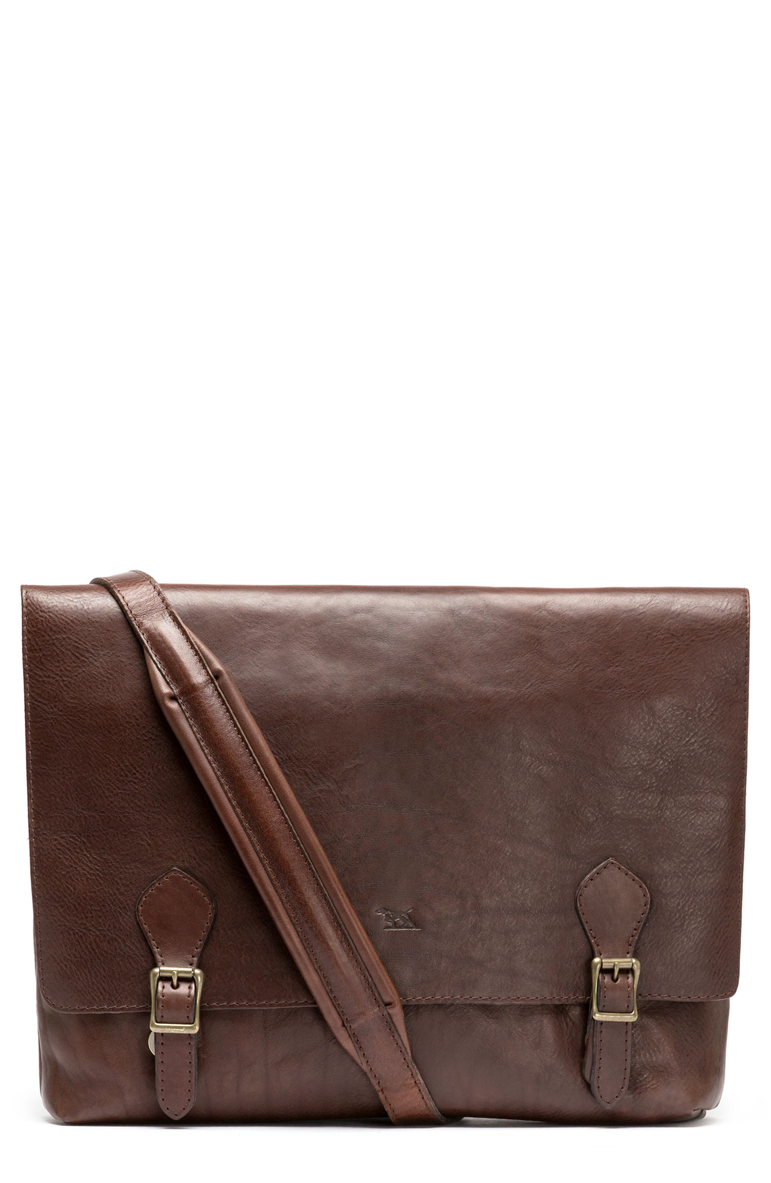 Woodstock Leather Satchel,                         Main,                         color, Cocoa