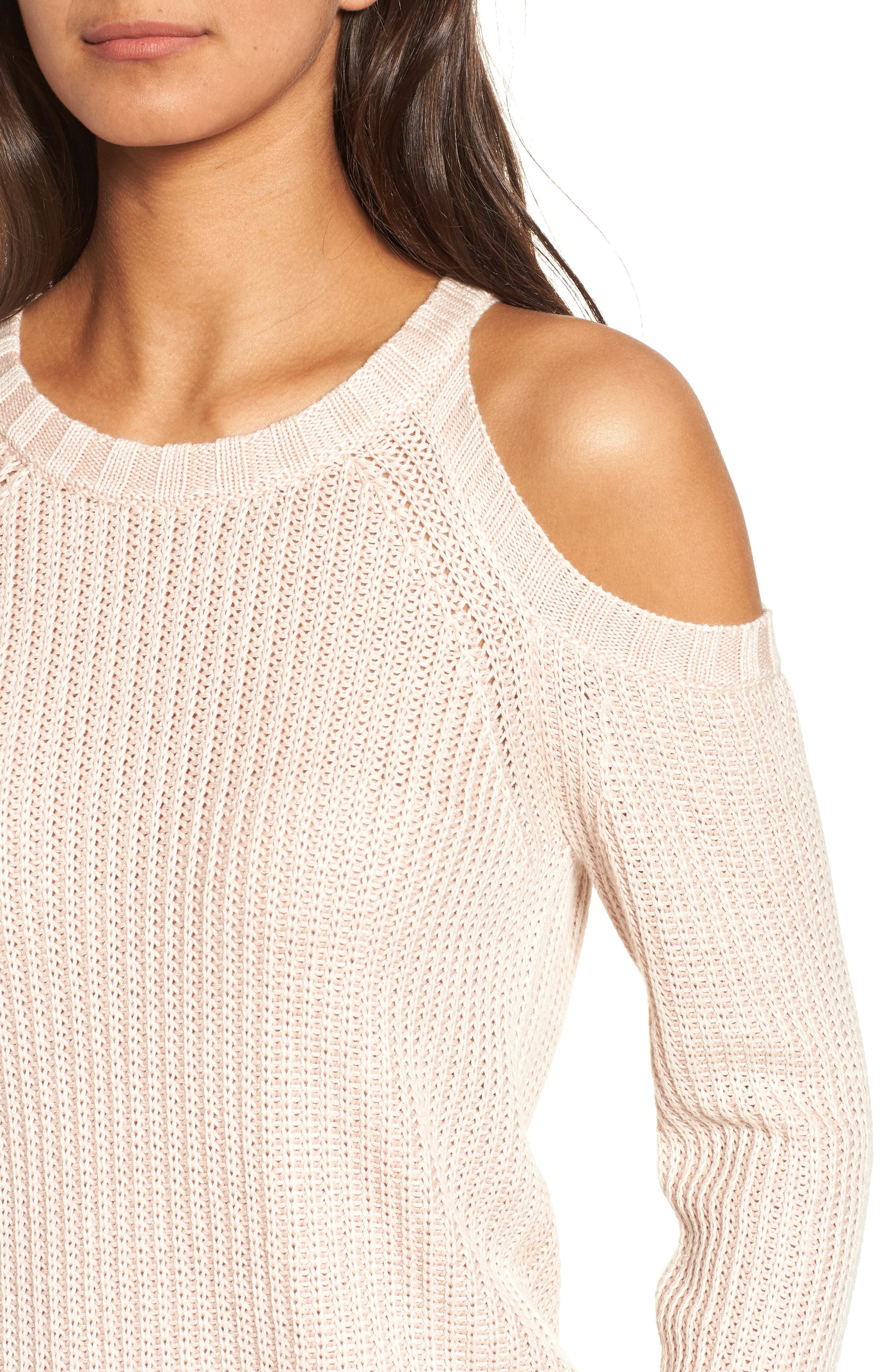 Mika Cold Shoulder Sweater,                             Alternate thumbnail 4, color,                             Blush