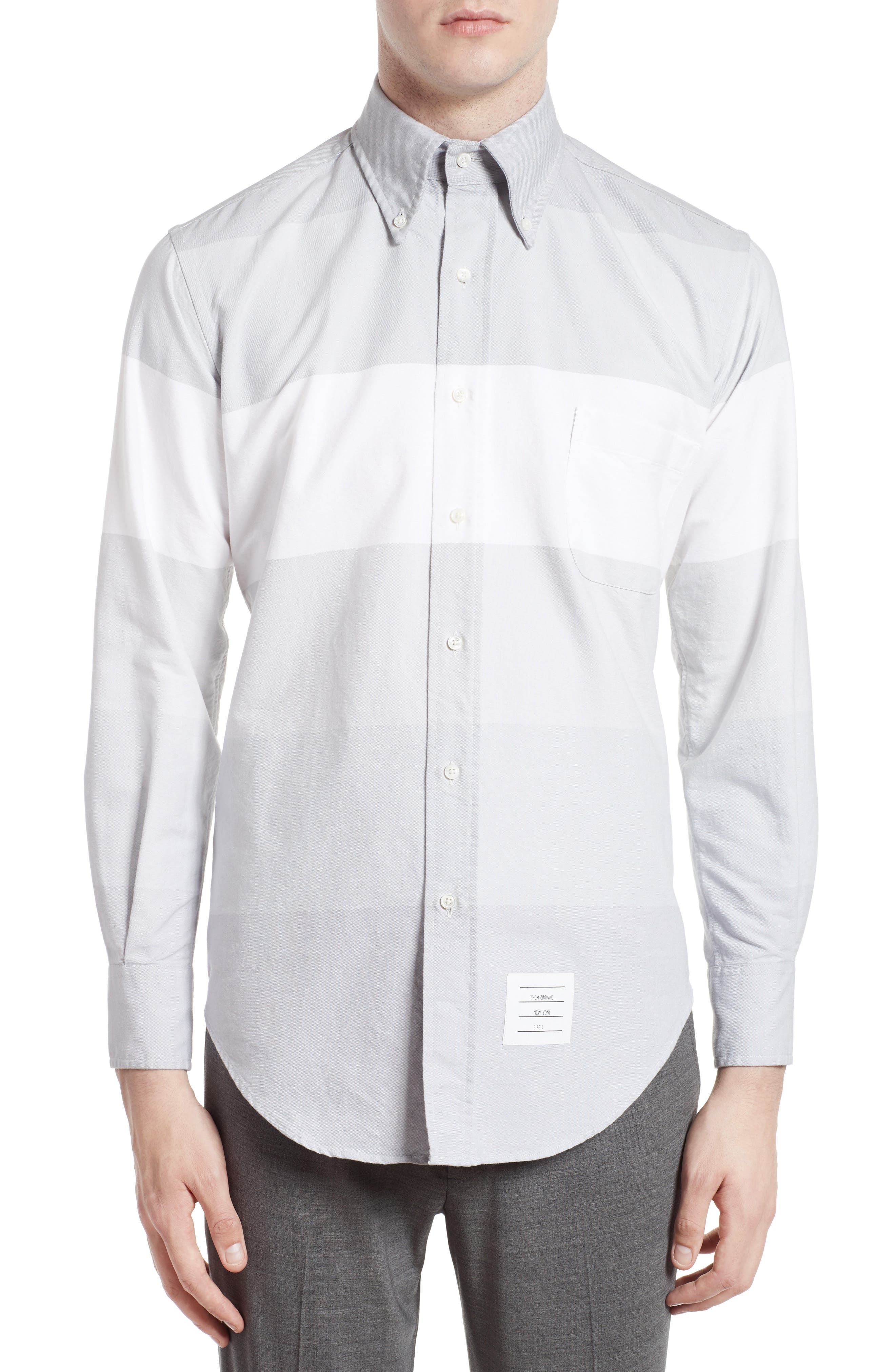 Thom Browne Trim Fit Large Stripe Sport Shirt