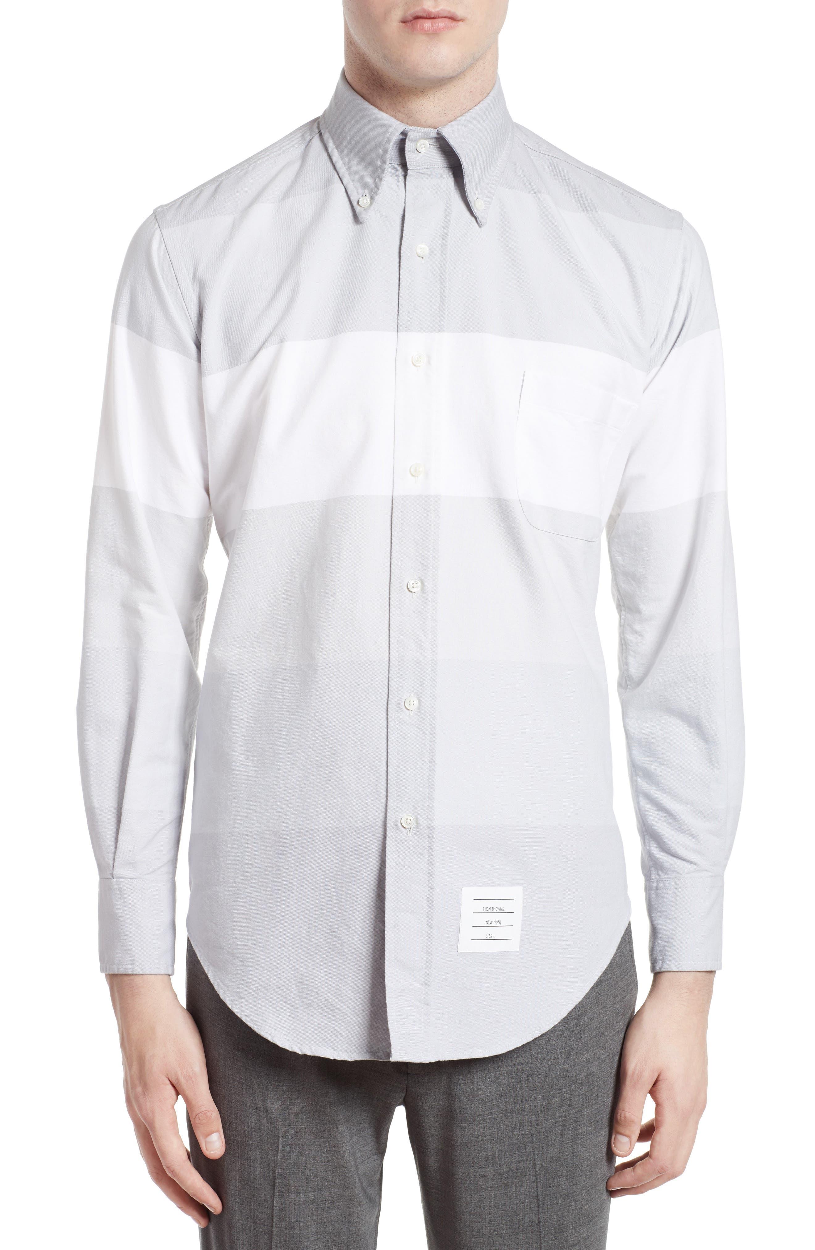 Thom Browne Trim Fit Large Stripe Sport Shirt