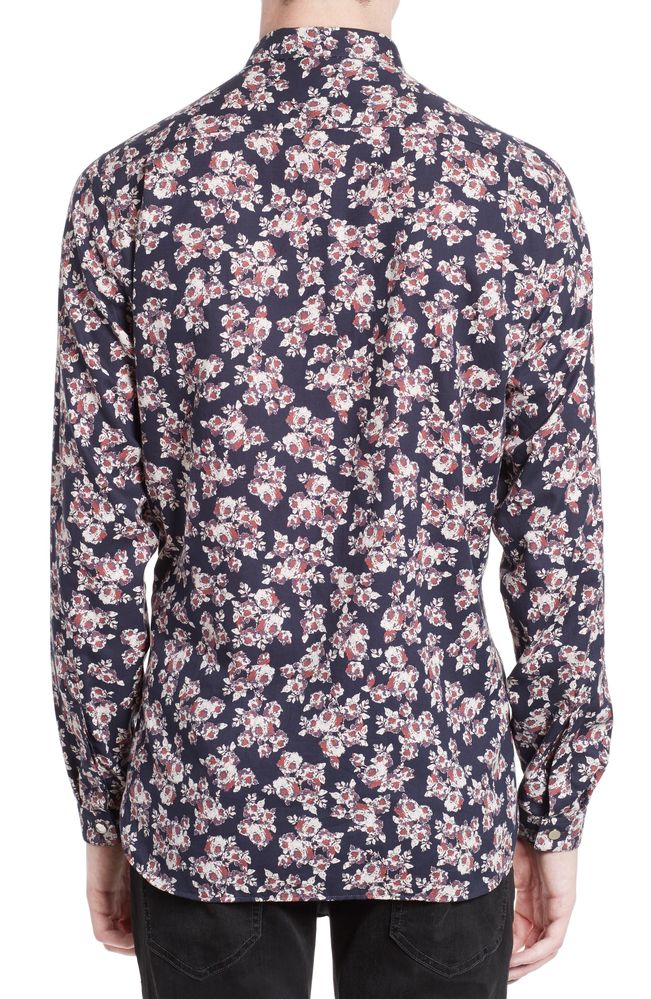 Floral Print Sport Shirt,                             Alternate thumbnail 2, color,                             Navy