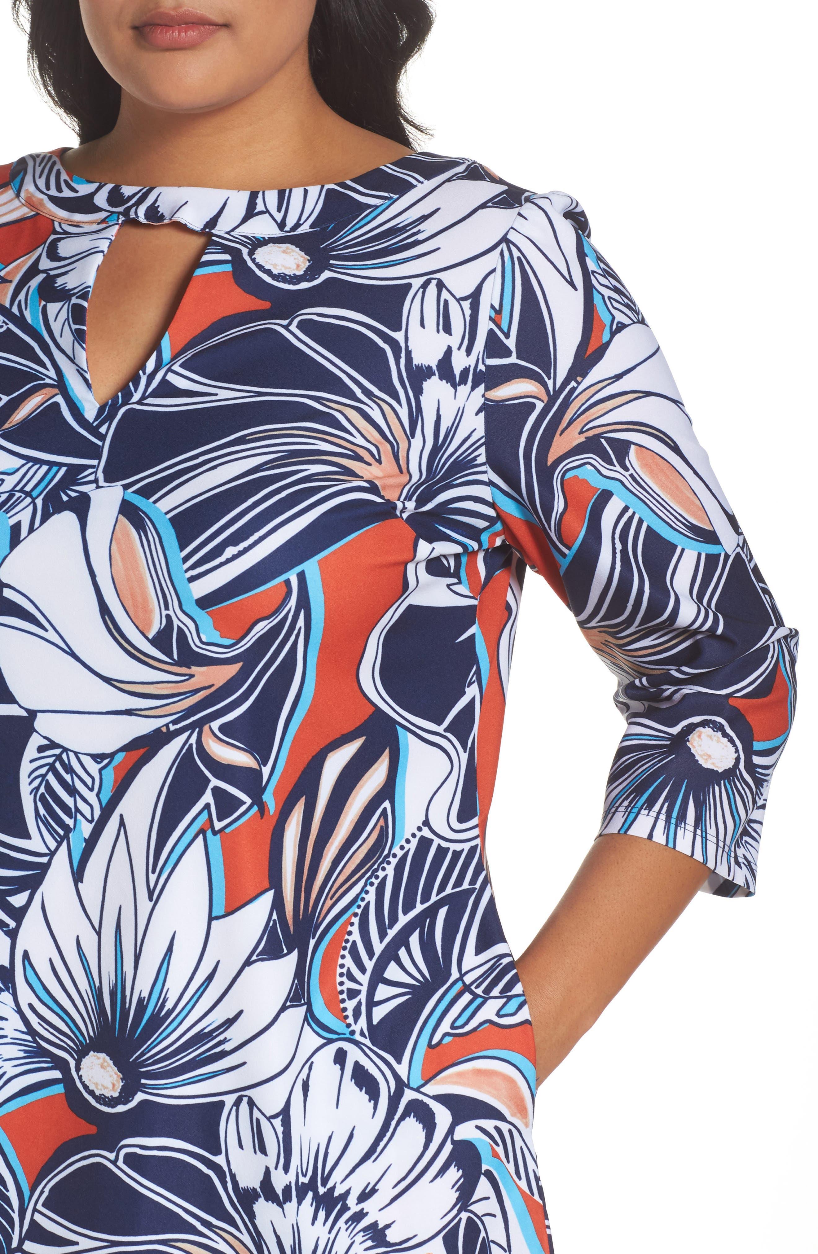 Alternate Image 4  - ECI Floral A-Line Shift Dress (Plus Size)