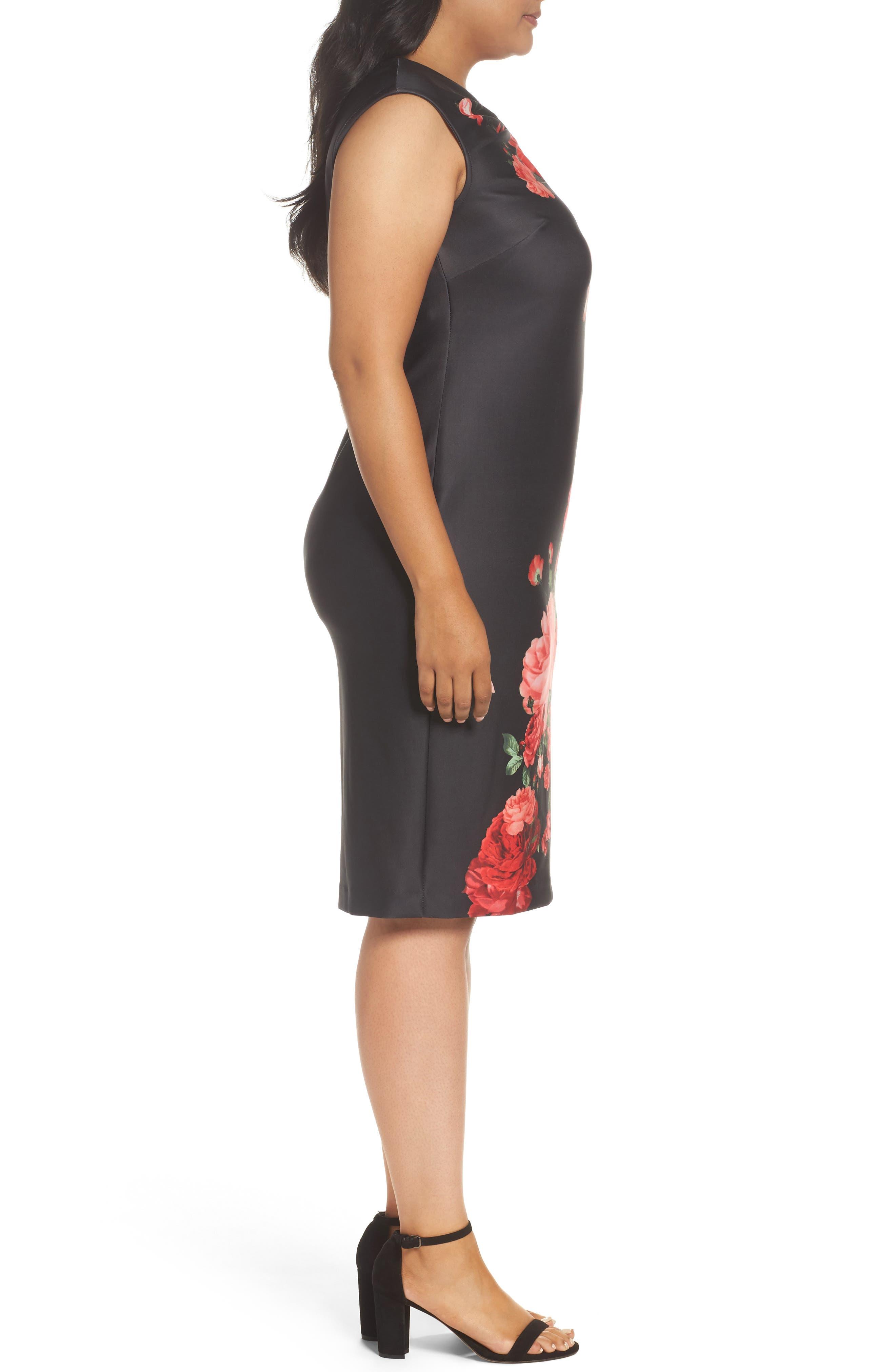 Floral Print Sheath Dress,                             Alternate thumbnail 3, color,                             Black/ Red