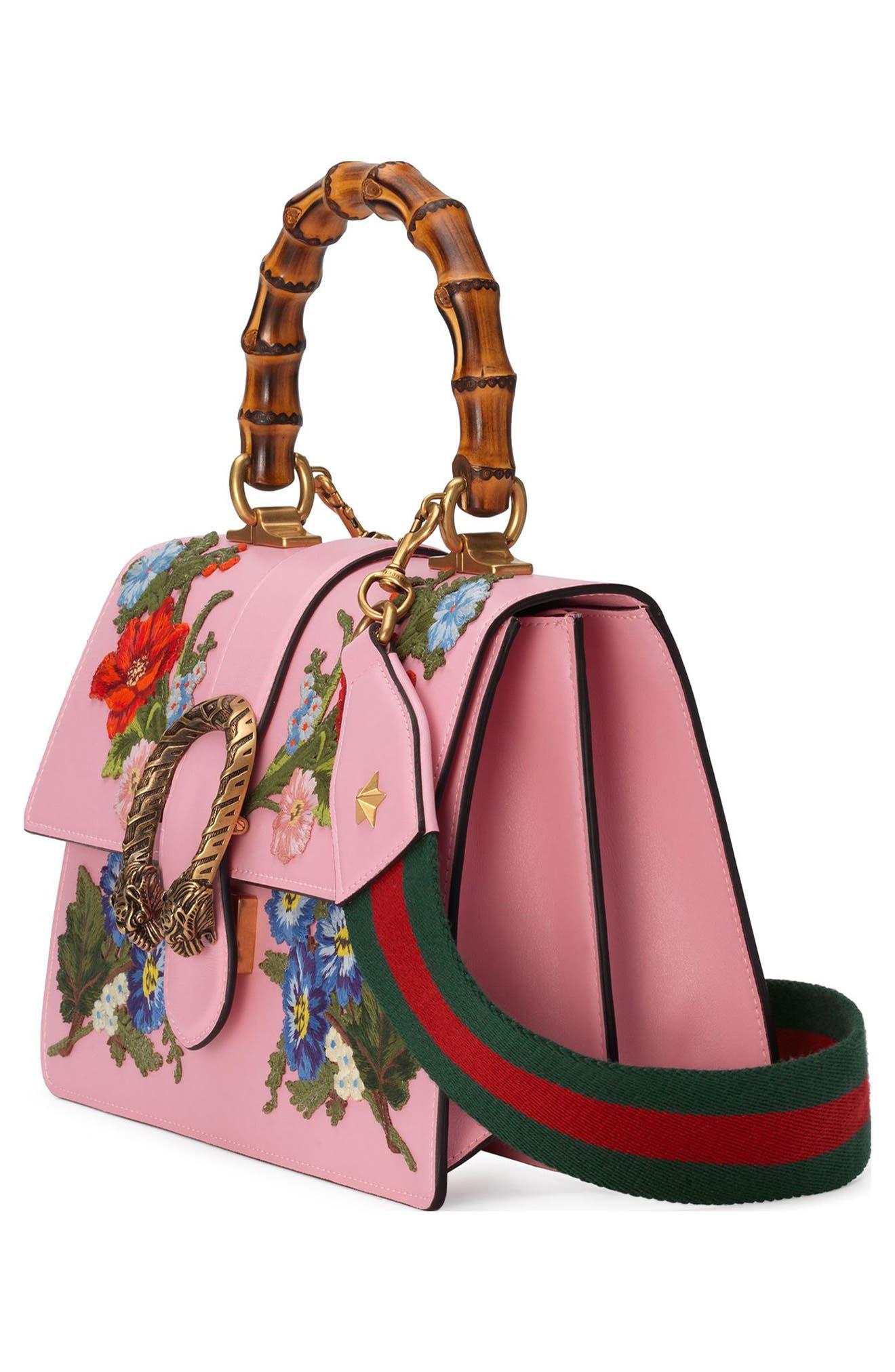 Small Dionysus Top Handle Leather Shoulder Bag,                             Alternate thumbnail 4, color,                             Sugar Pink/Multi