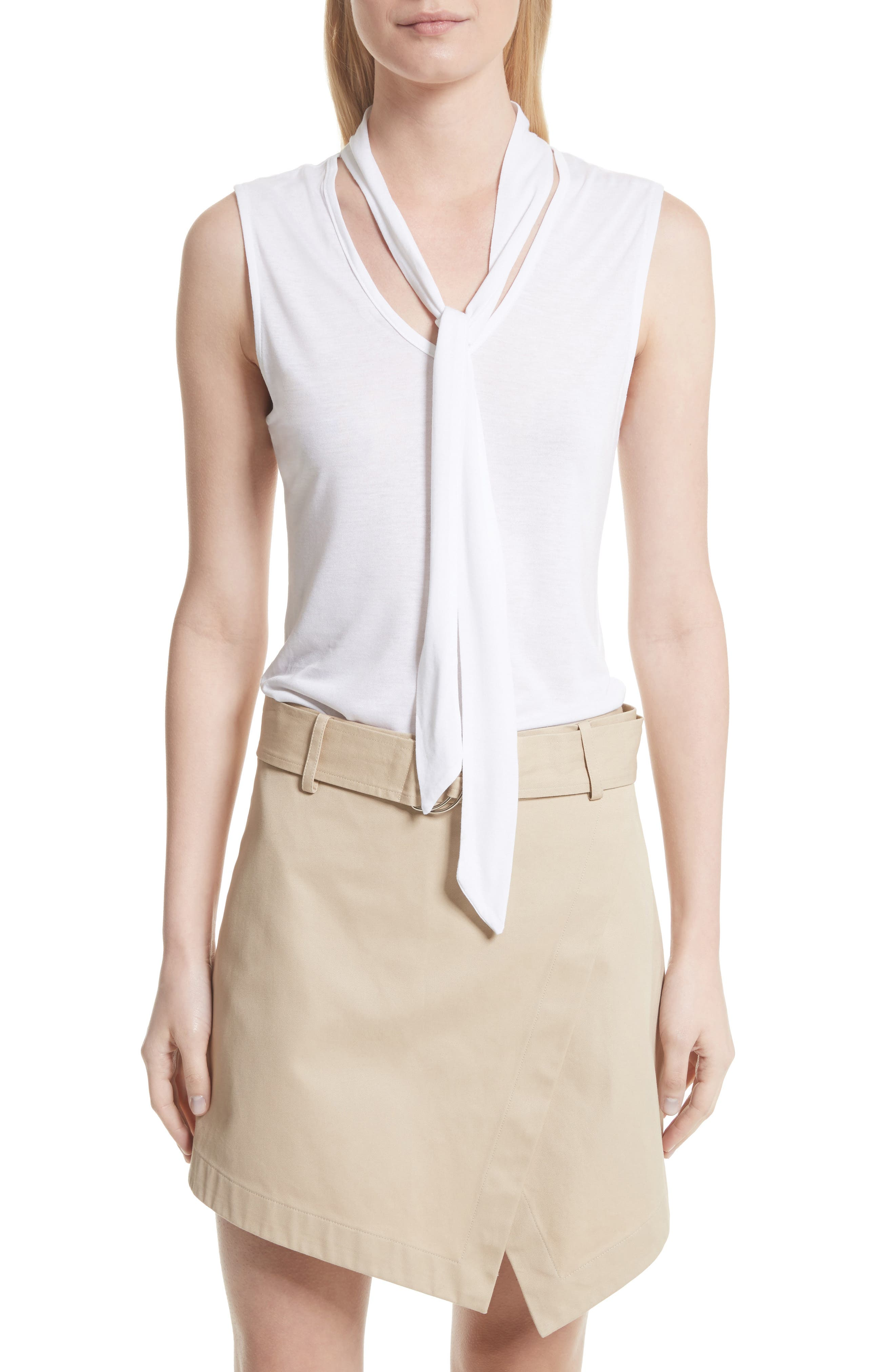 Sleeveless Tie Neck Blouse,                         Main,                         color, Blanc