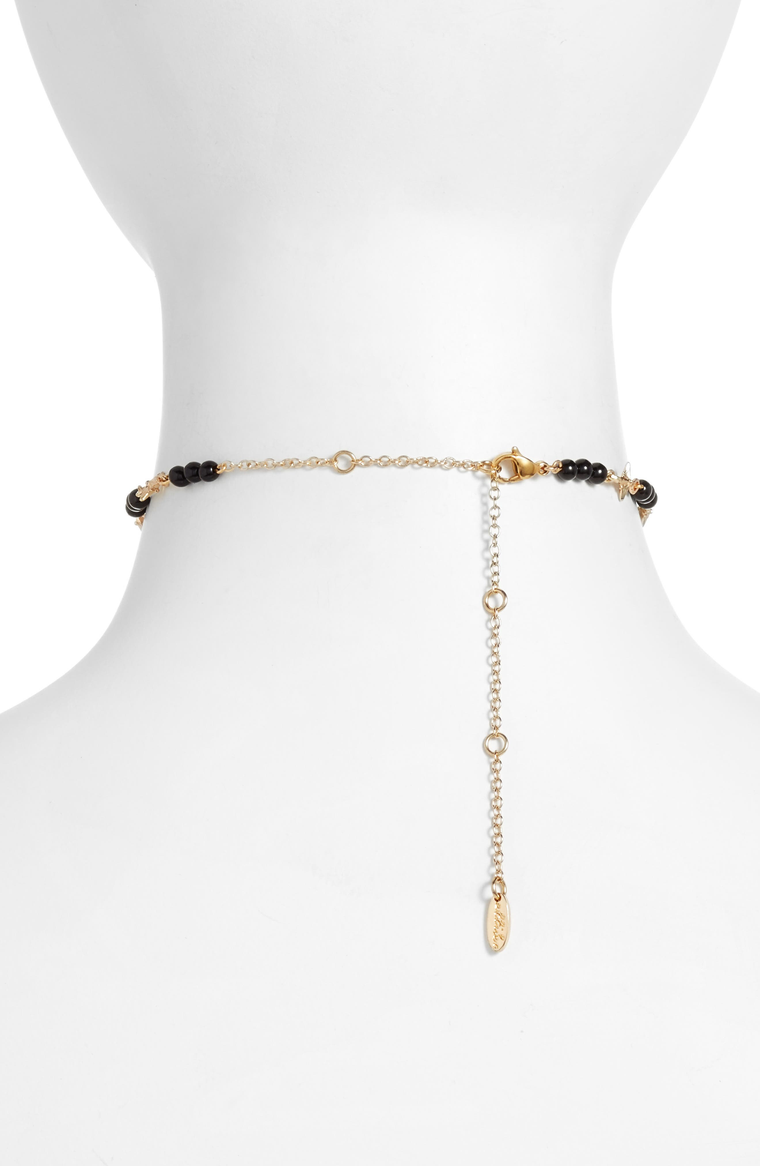 Star Chain Choker,                             Alternate thumbnail 2, color,                             Gold/ Onyx