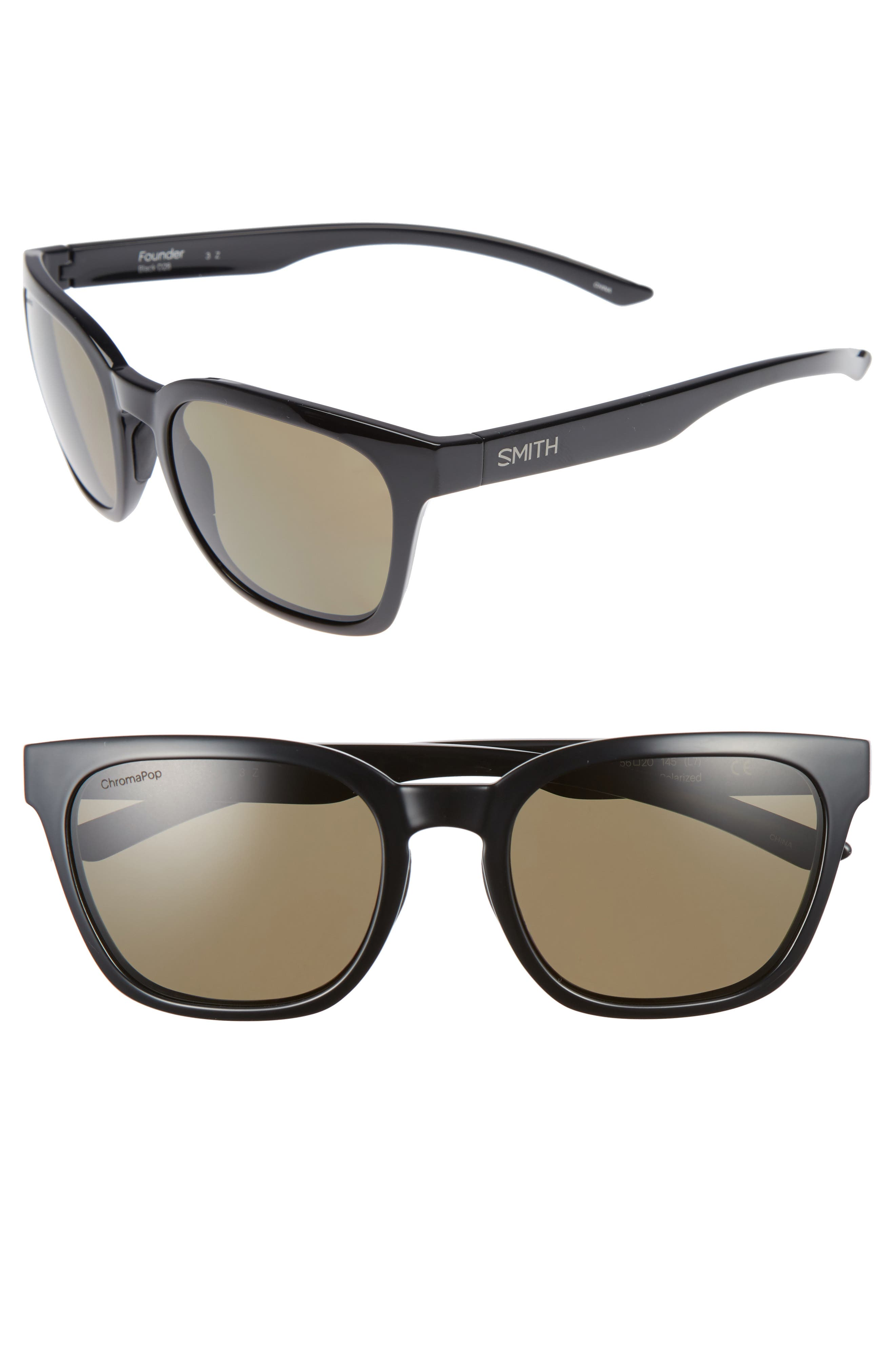 Founder 55mm ChromaPop<sup>™</sup> Polarized Sunglasses,                             Main thumbnail 1, color,                             Black/ Gray Green