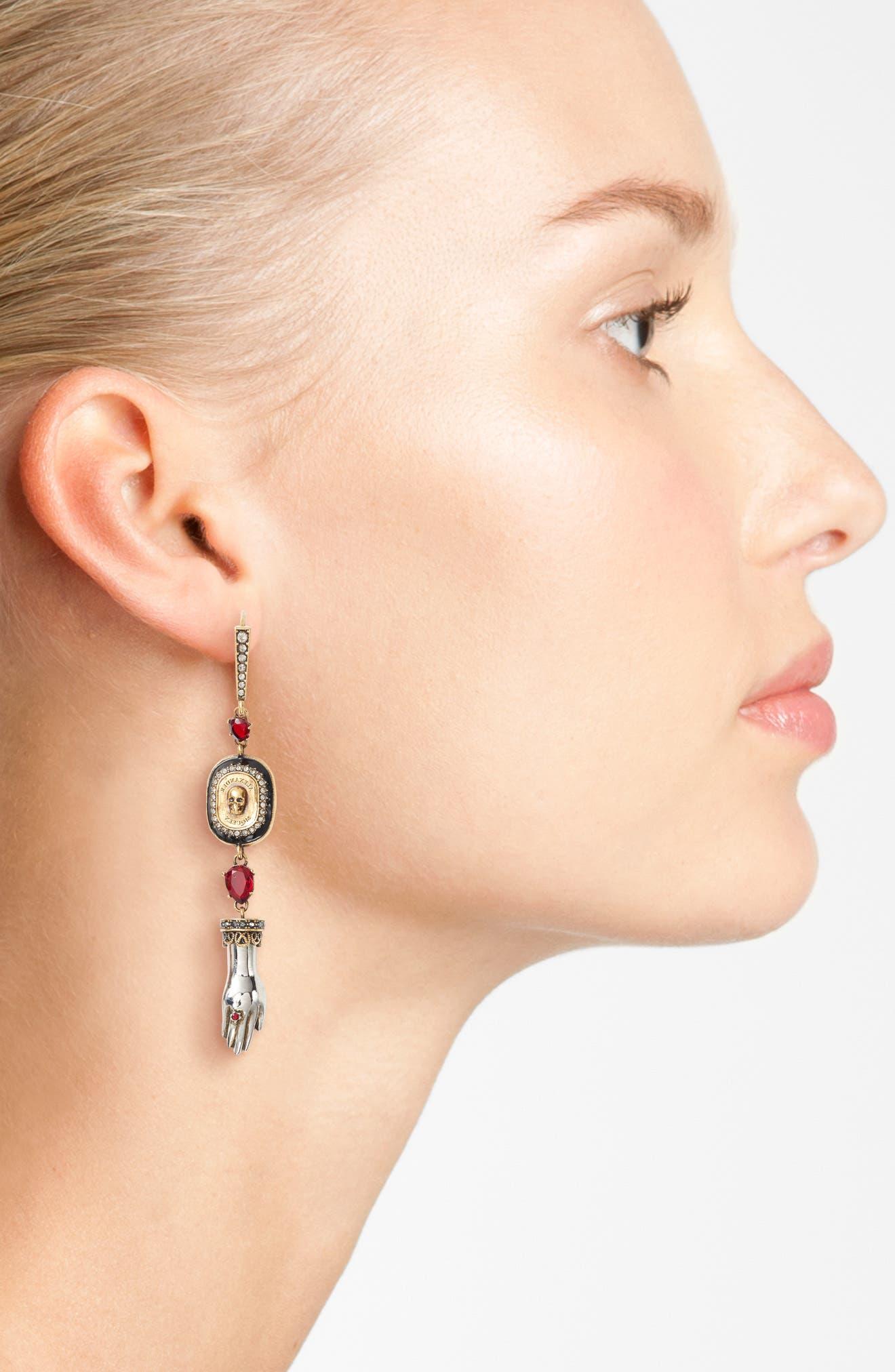 Alternate Image 2  - Alexander McQueen Safety Pin Skull Earrings
