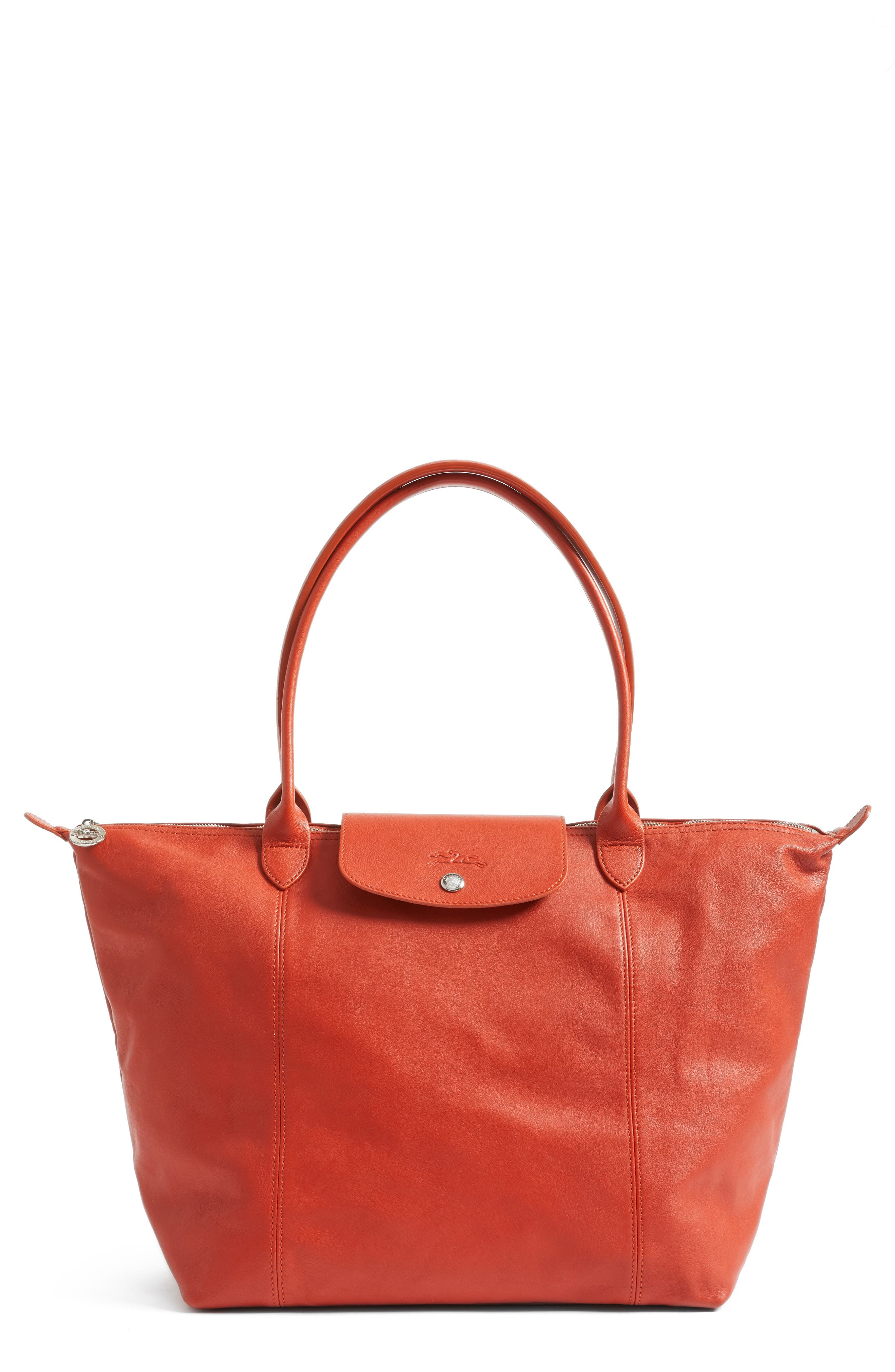 Main Image - Longchamp Le Pliage Cuir Leather Tote (Nordstrom Exclusive)