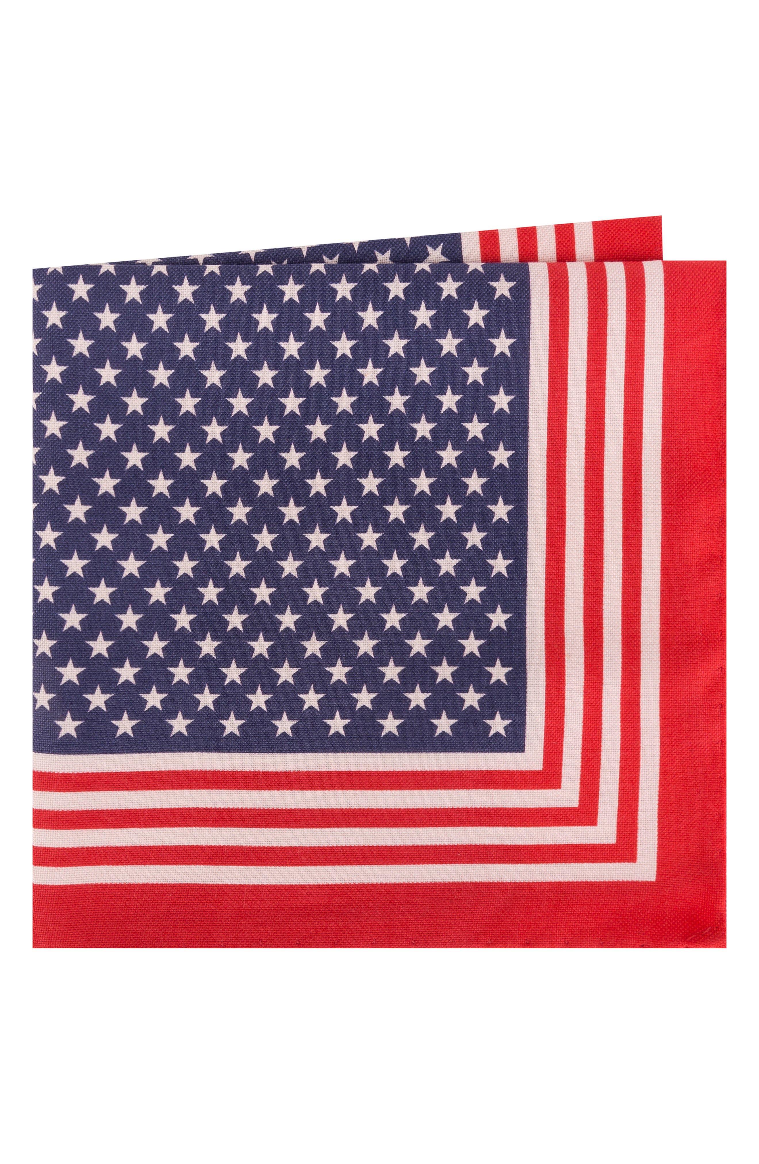 Stars & Stripes Cotton & Silk Pocket Square,                             Main thumbnail 1, color,                             Red/ Blue