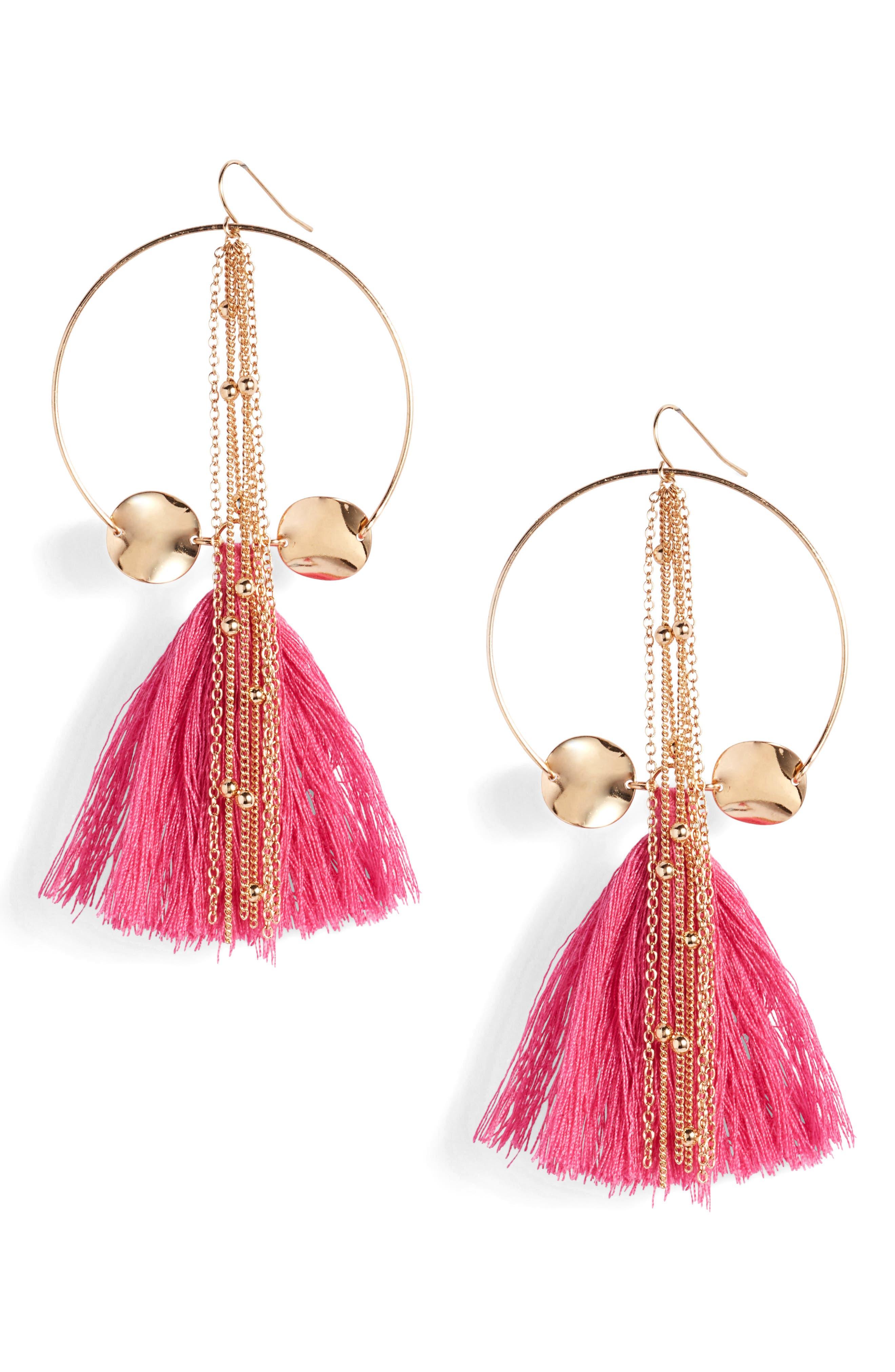 Tassel Hoop Earrings,                         Main,                         color, Pink/ Gold