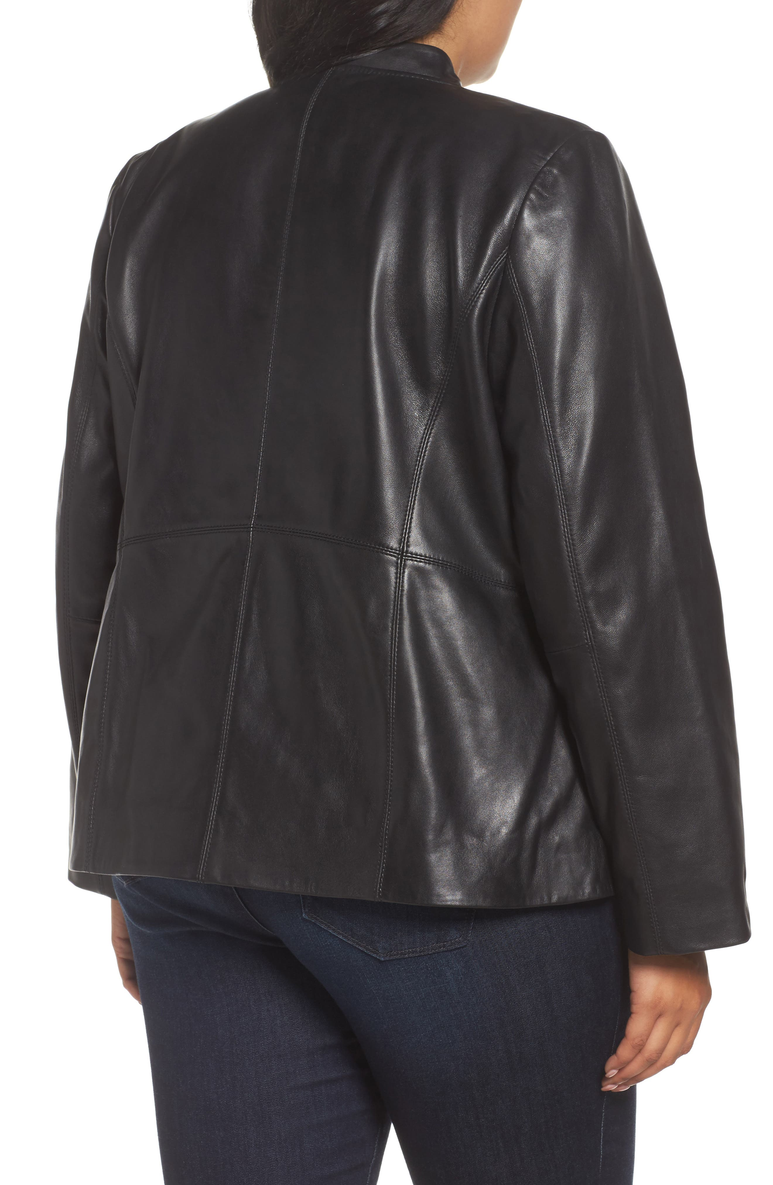 Asymmetrical Zip Leather Jacket,                             Alternate thumbnail 4, color,                             Black