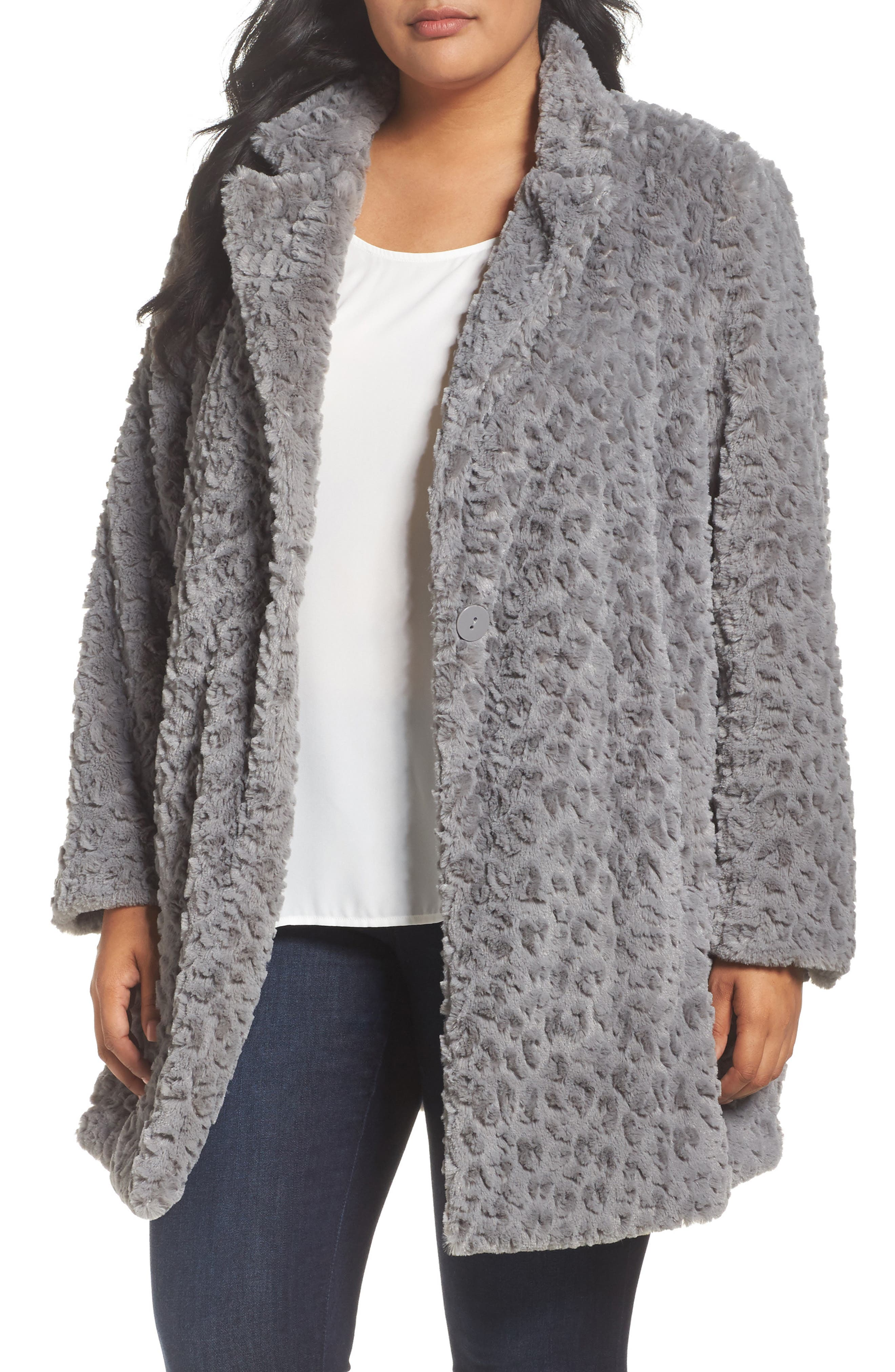 Alternate Image 1 Selected - Kenneth Cole New York Faux Fur Jacket (Plus Size)