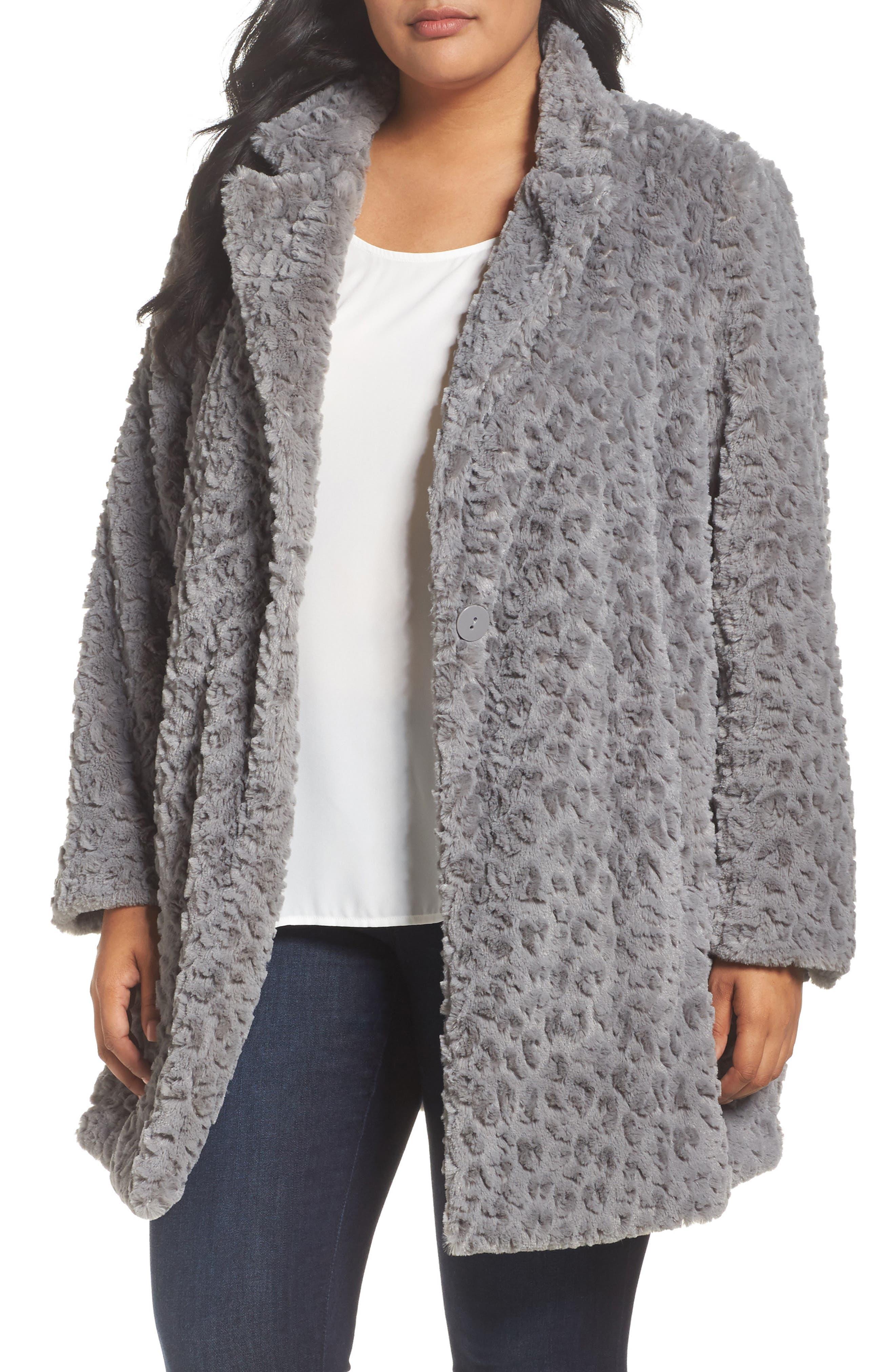 Faux Fur Jacket,                             Main thumbnail 1, color,                             Grey