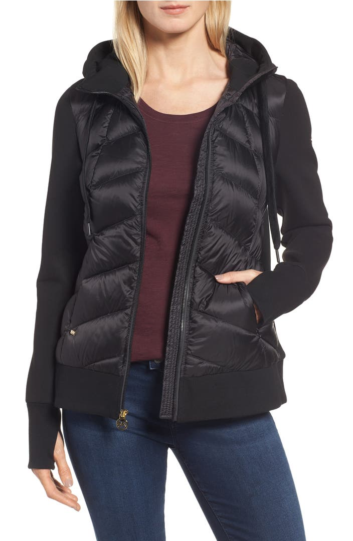 Michael Michael Kors Hooded Down Amp Neoprene Jacket Nordstrom