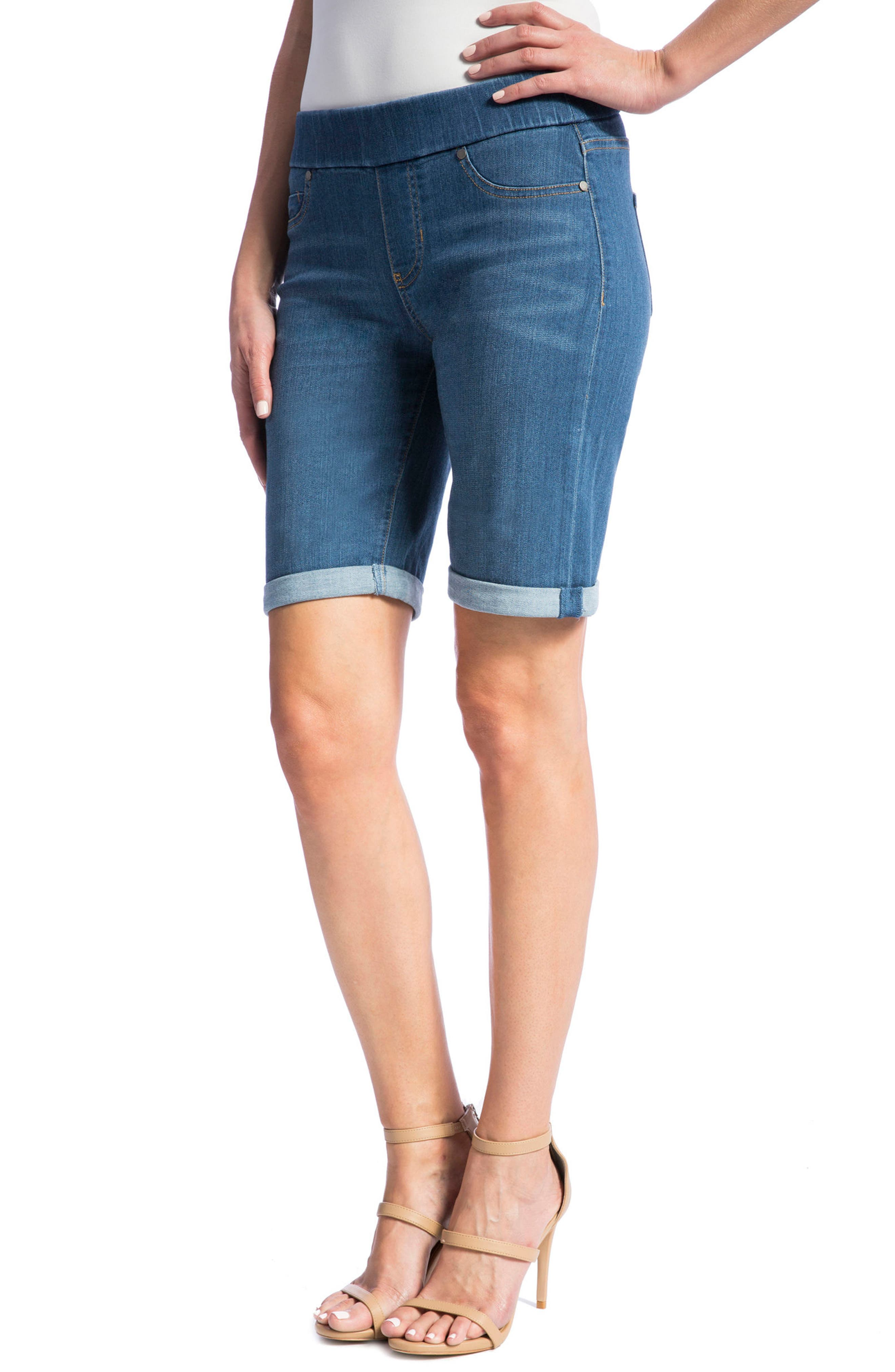 Sienna Pull-On Denim Bermuda Shorts,                             Alternate thumbnail 4, color,                             Coronado Mid