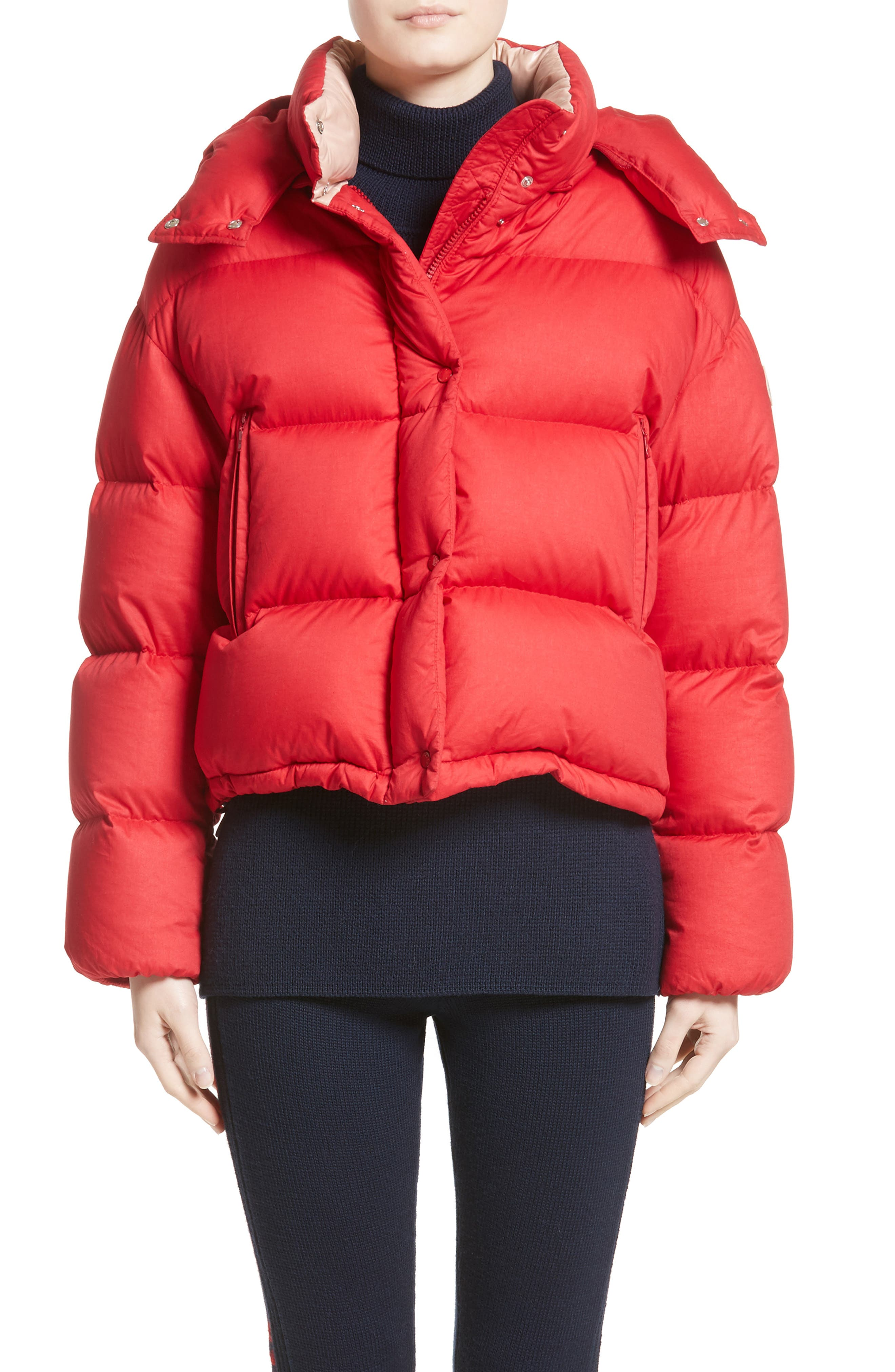 moncler red puffer jacket