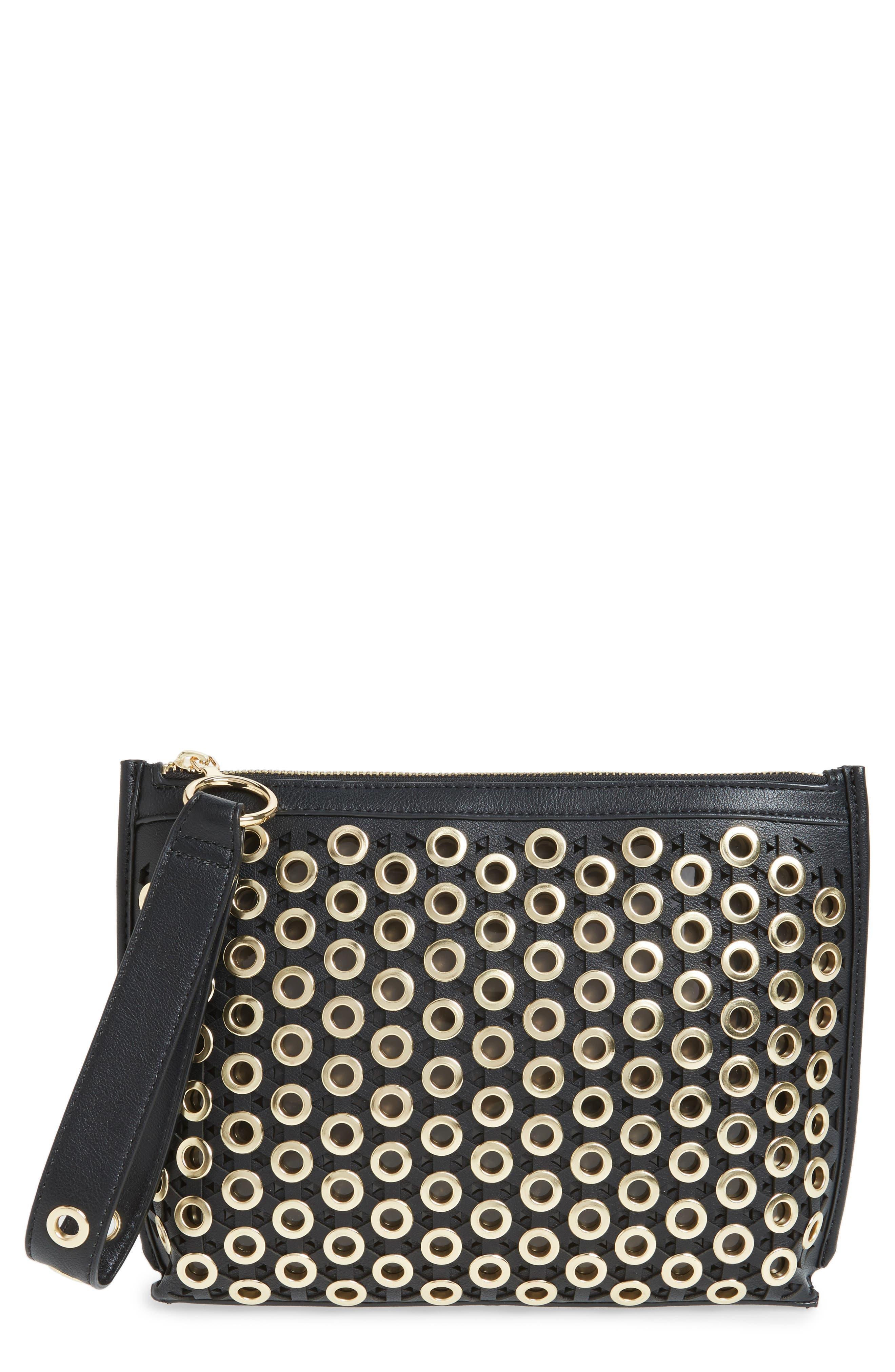 Skyler Faux Leather Clutch,                         Main,                         color, Black