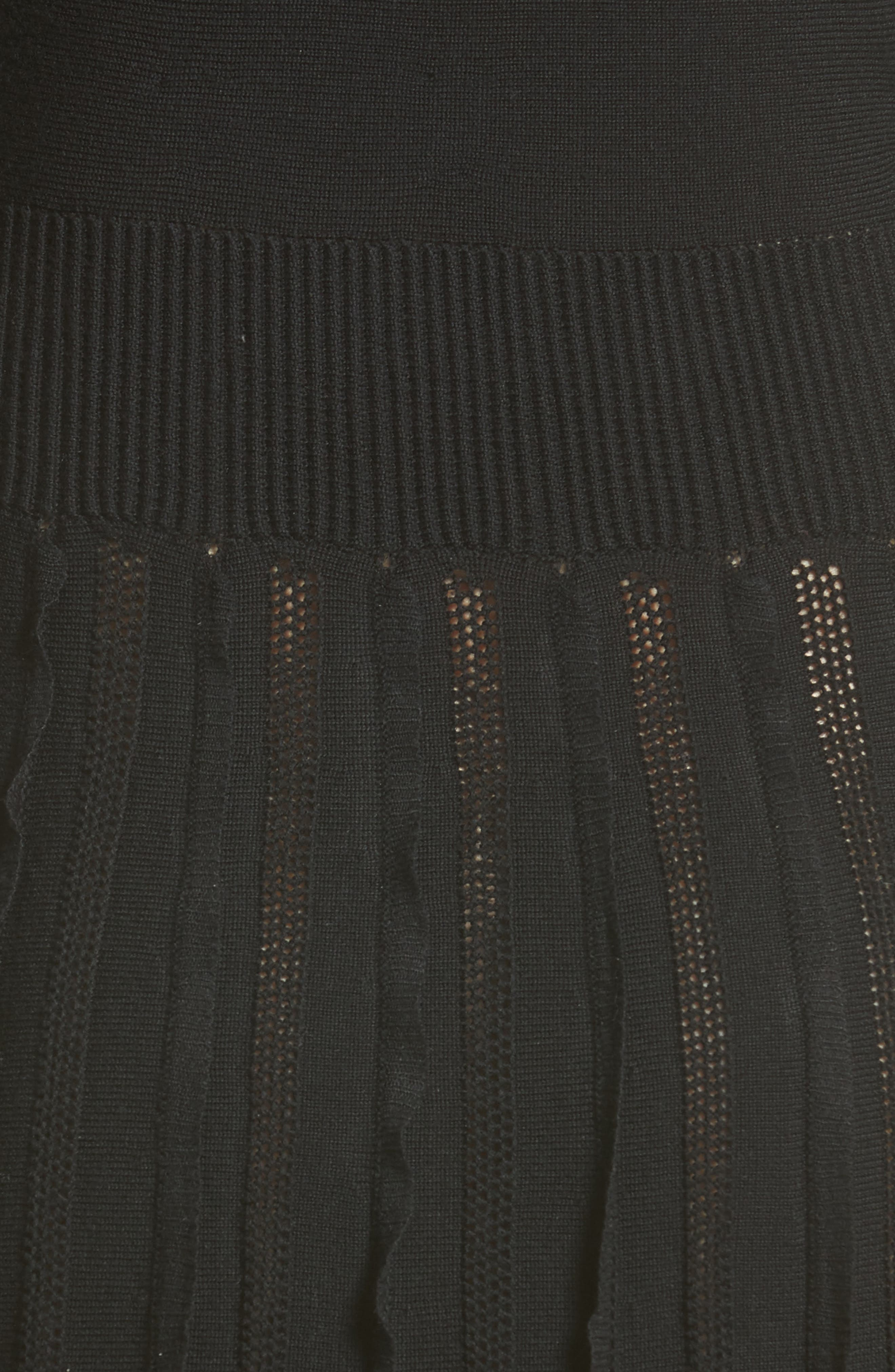 Ruffle Skirt Wool Knit Dress,                             Alternate thumbnail 3, color,                             Black