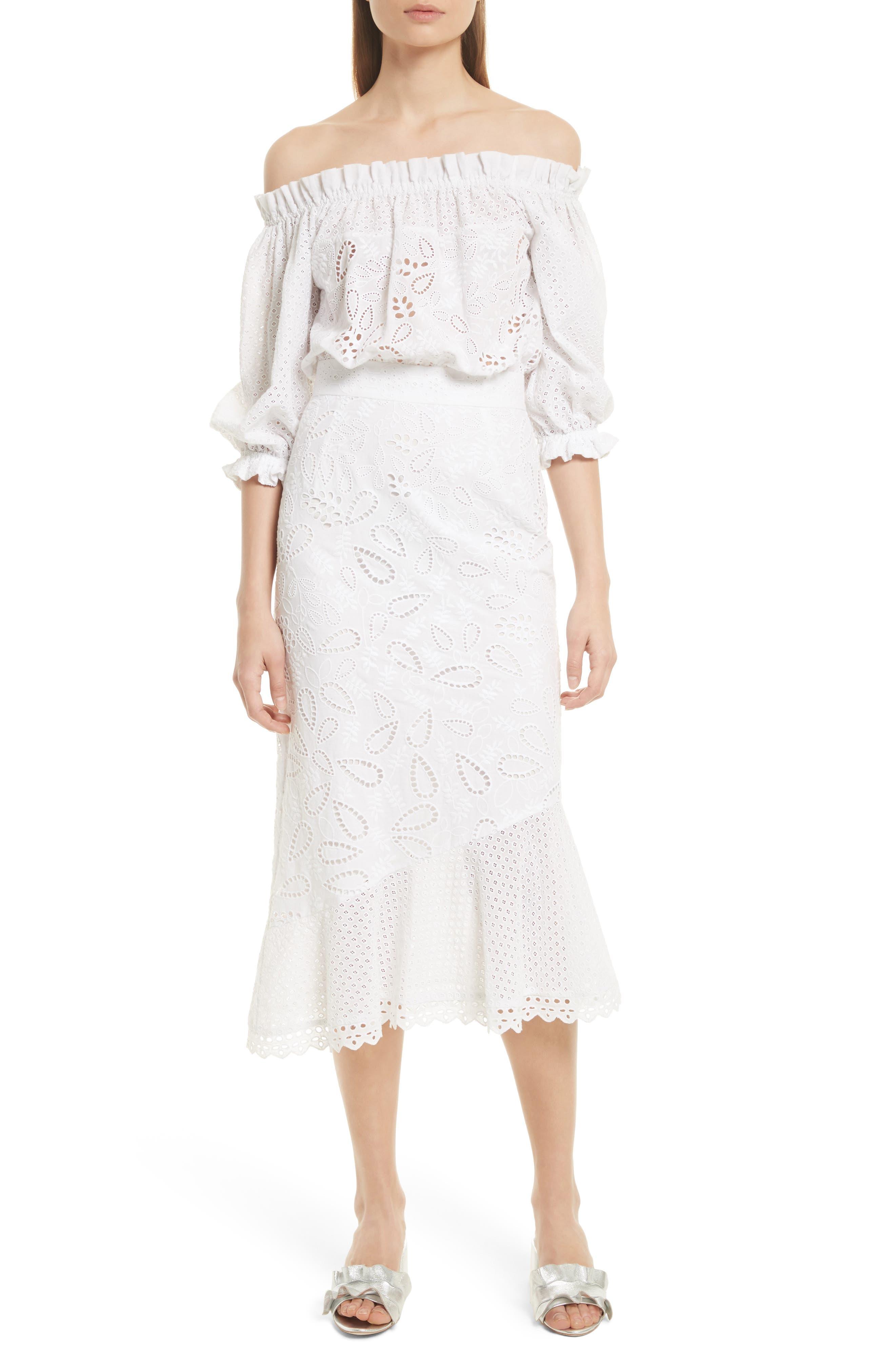 Grace Cotton Off the Shoulder Dress,                             Main thumbnail 1, color,                             White/ French Lace