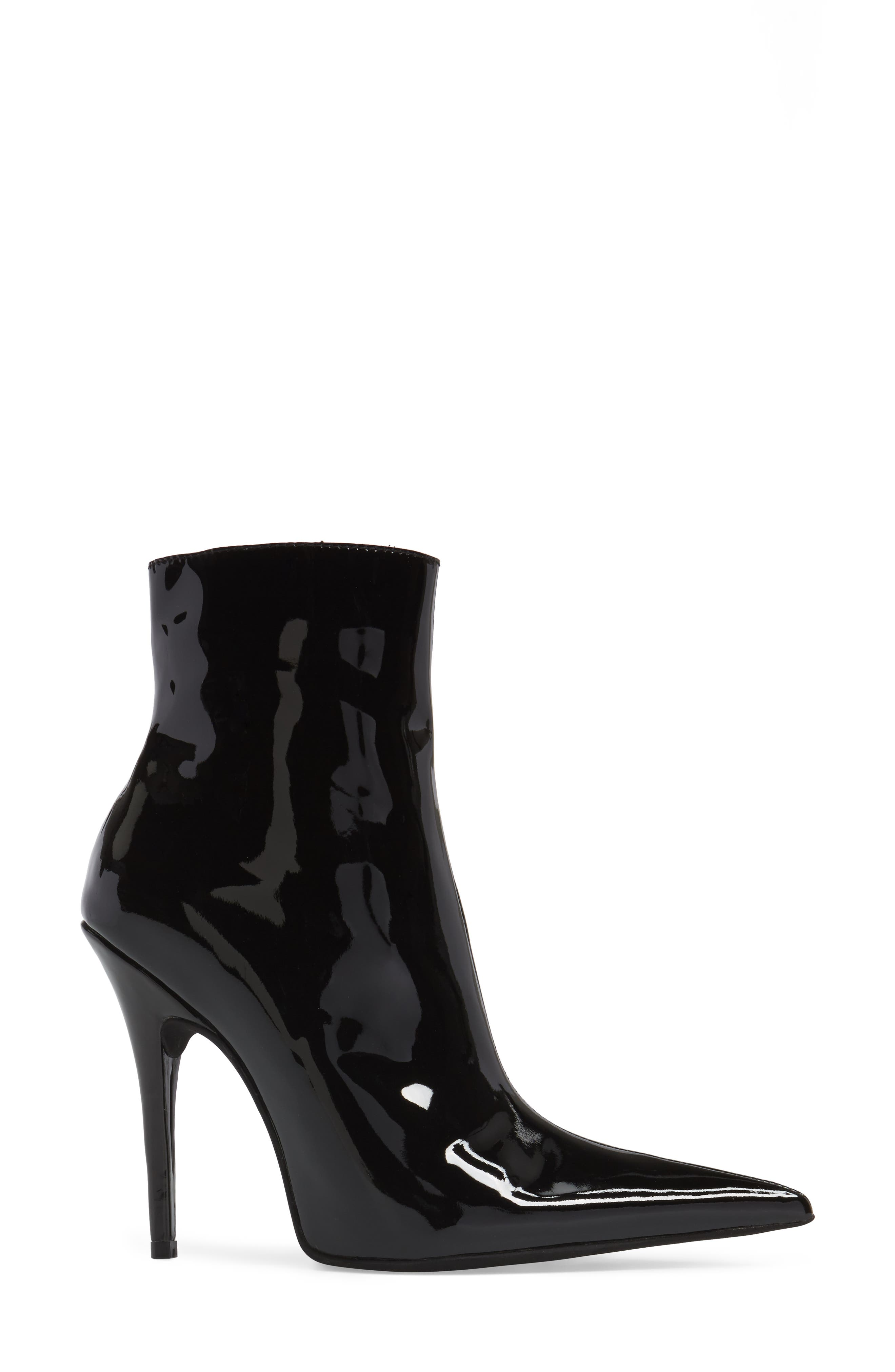 Vedette Pointy Toe Booties,                             Alternate thumbnail 3, color,                             Black Patent