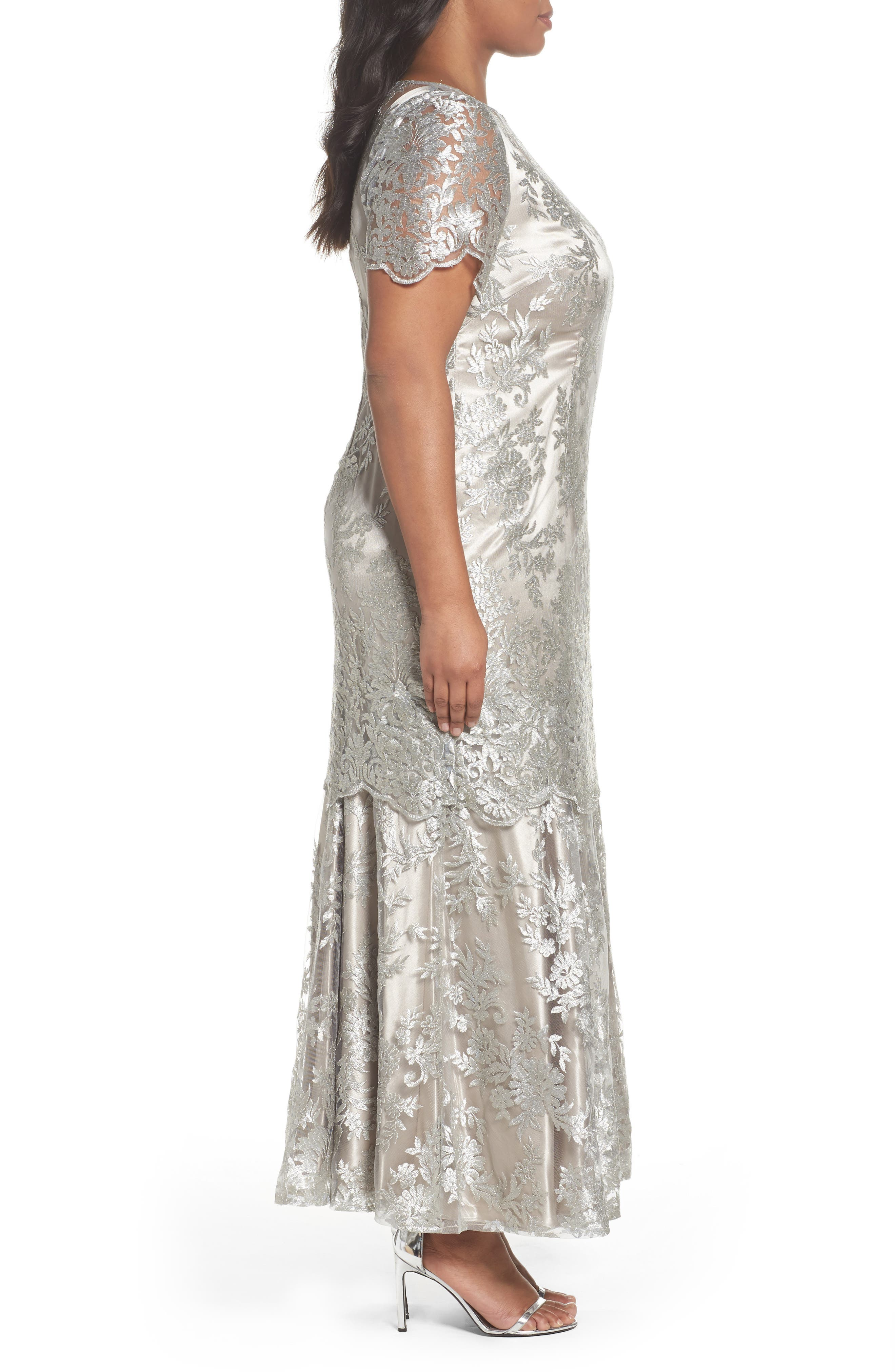Embroidered Tiered Mermaid Gown,                             Alternate thumbnail 3, color,                             Platinum