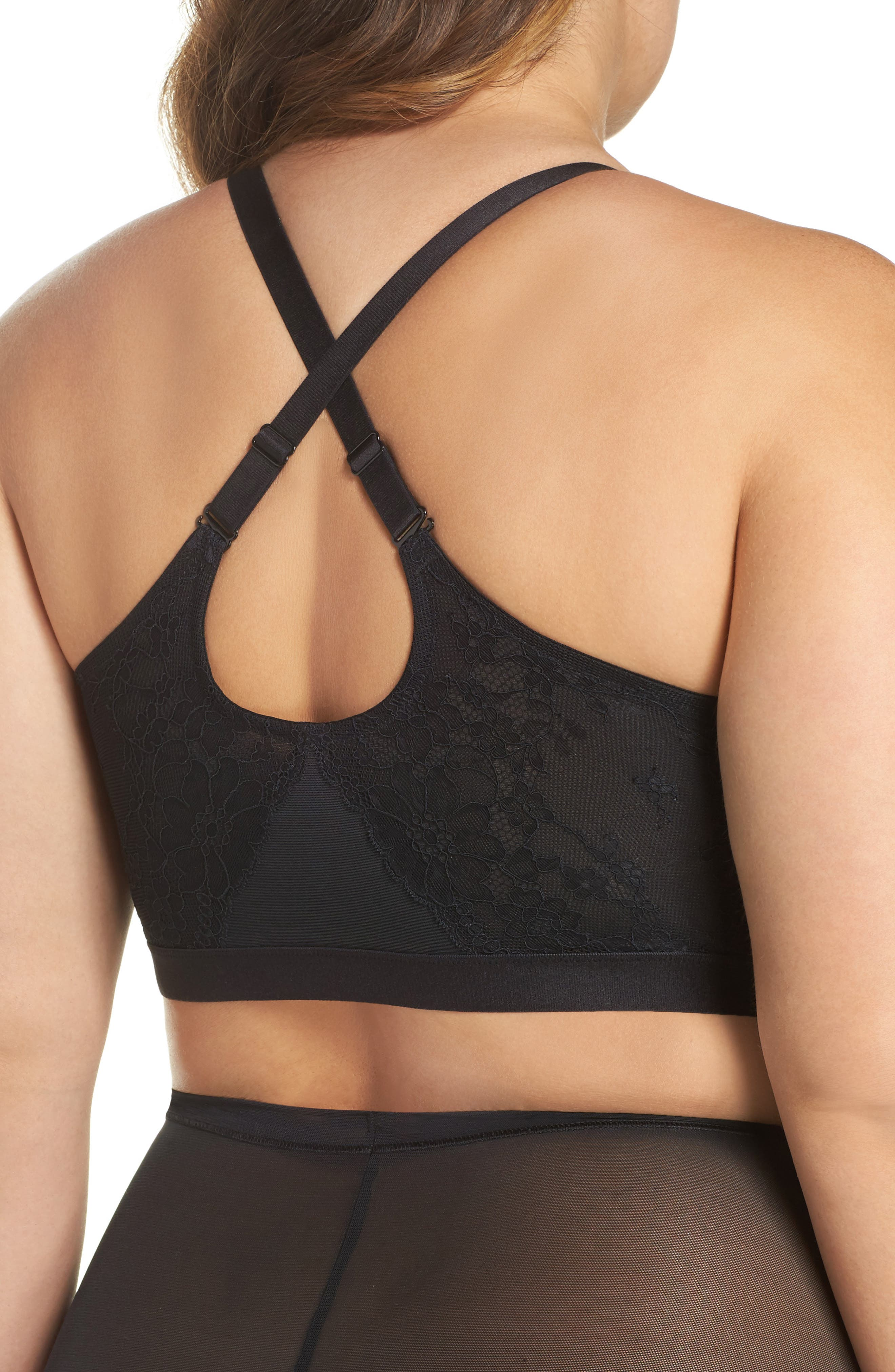 Spotlight On Lace Bralette,                             Alternate thumbnail 3, color,                             Very Black