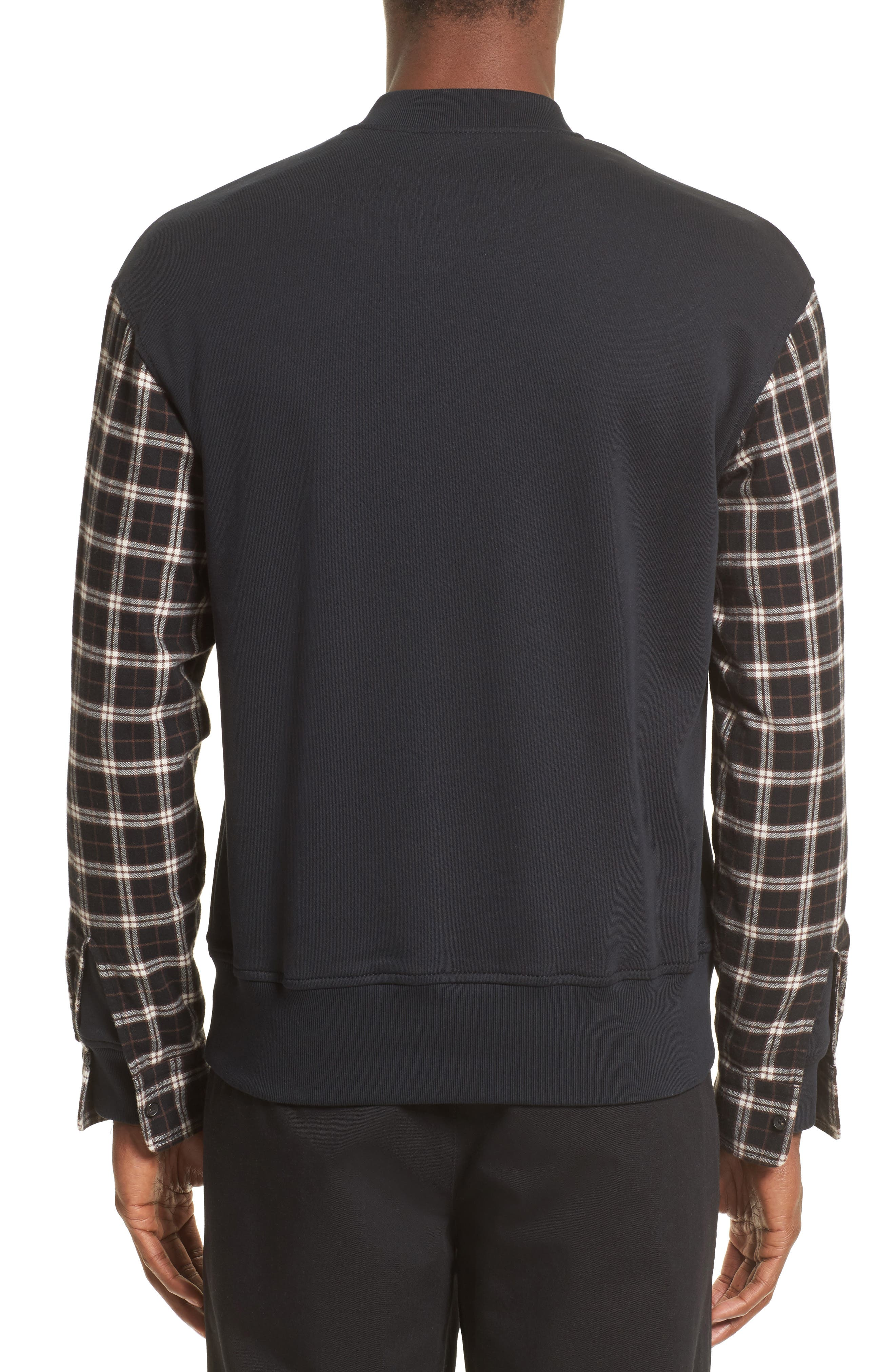Pullover Bomber with Flannel Sleeves,                             Alternate thumbnail 2, color,                             Soft Black