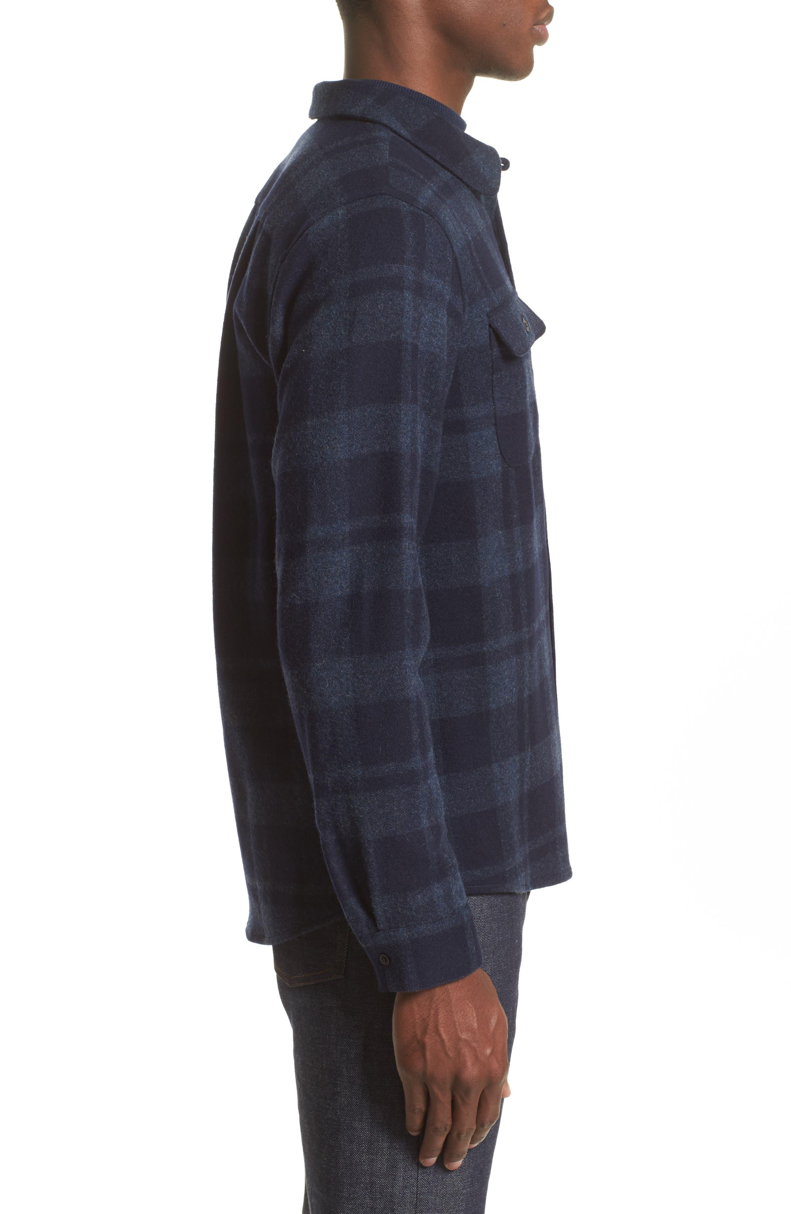 Flannel Plaid Shirt,                             Alternate thumbnail 3, color,                             Marine