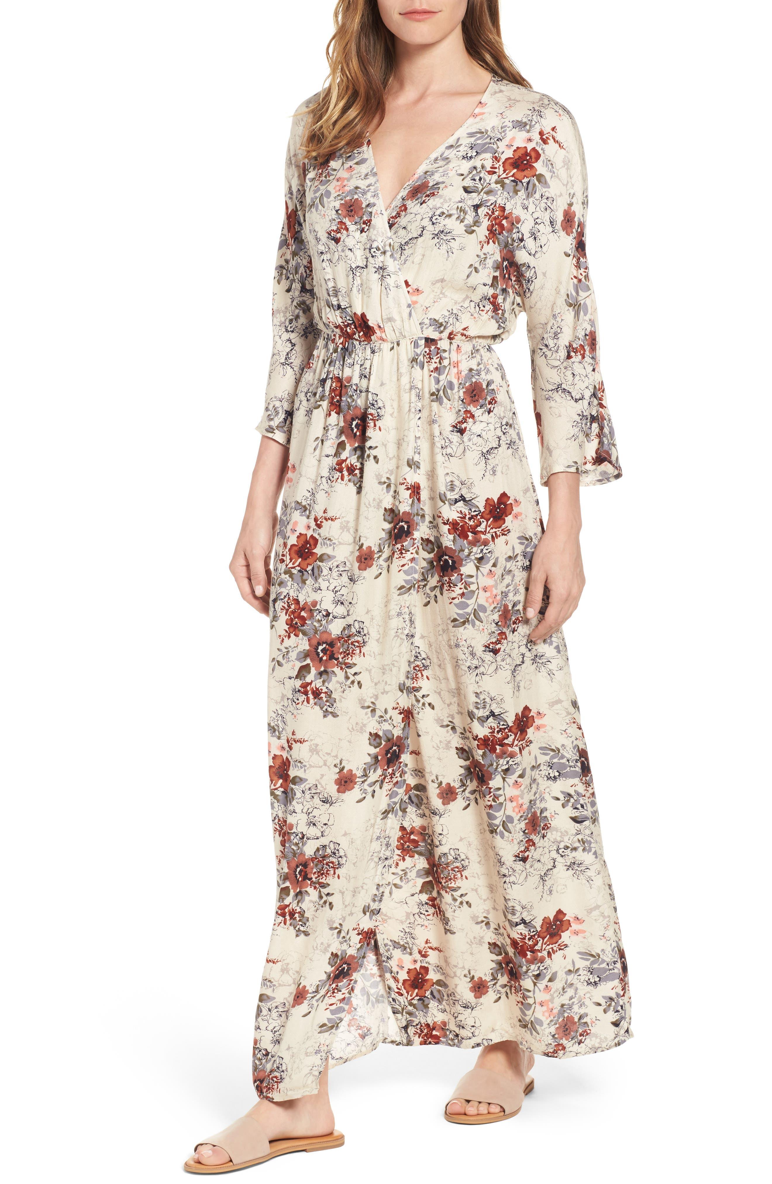 Blouson Maxi Dress,                         Main,                         color, Ivory Birch Blooms